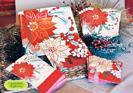 "Josephine Kimberling's ""Poinsettia Blooms"" Paper Tableware collection with Design Design!"