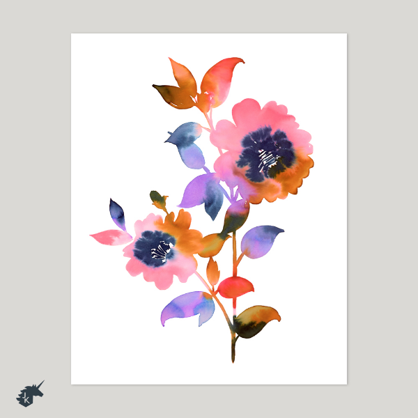 Josephine Kimberling's Paintbox Bloom Art Print in her Etsy Shop