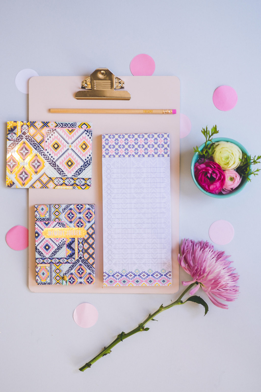 """Stationery items in my """"Dream Catcher"""" patterns. Navajo designs in soft, feminine colors with gleaming gold foil!"""