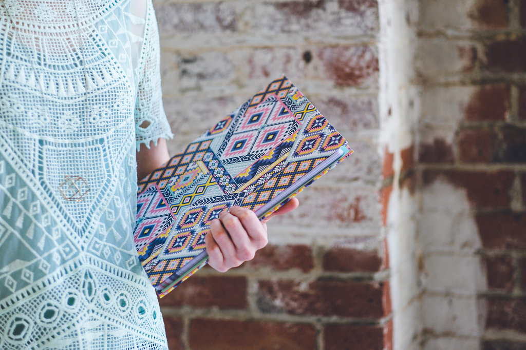 """Padfolio with hidden spiral notebook in my """"Dream Catcher"""" pattern is so lovely to carry!"""