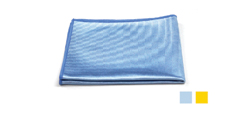 Microfiber Blue Shiny Glass Cloths   - 80% Polyester, 20% Polyamide. Glass cloths can be laundered up to 500 times are lint-free, have a smooth texture easily releases particles with rinsing and reduce the amount of chemical needed for cleaning.