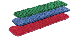 """Microfiber Scrubbing Wet Flat Mops   - 80% Polyester, 20% Polyamide. Scrubbing wet flat mops have durable double stitched edges, a velcro® 5.5"""" wide backing scrubbing strips that you can launder up to 500 times."""