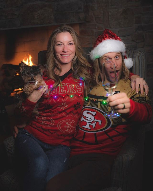 I'm not Christmas drunk you're Christmas drunk. Merry Christmas ya filthy animals! Oh and Santa, please give @jimmypolo10 a new set of strong ACL's this year. @49ers @elysesaugstad 📸: @blakejorgenson