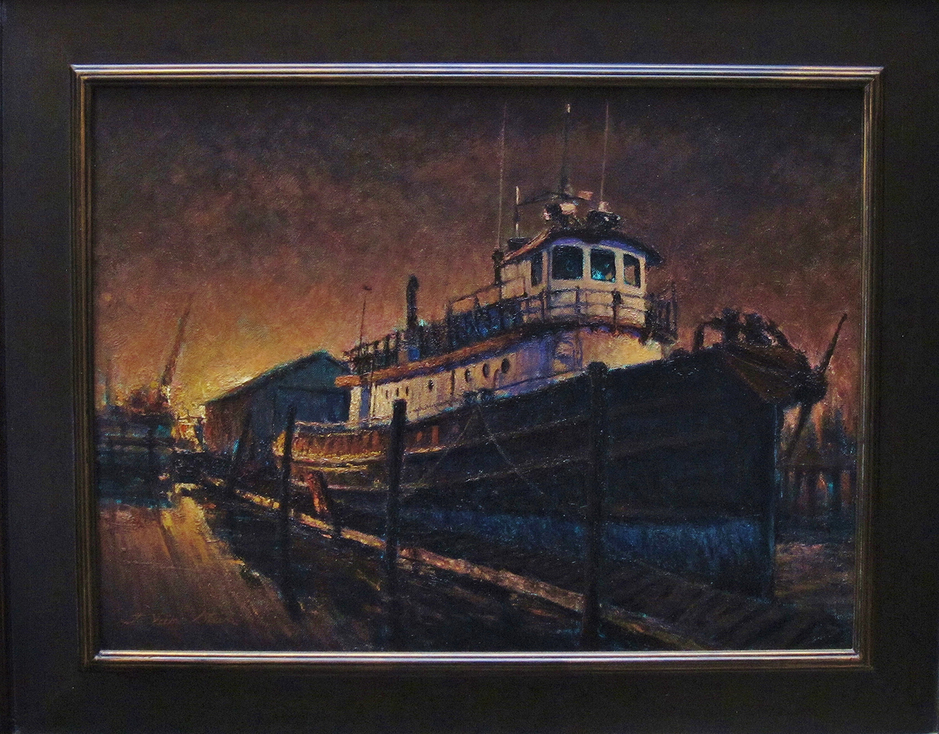 Harbor Tug Nocturne, 18 x 24 inches
