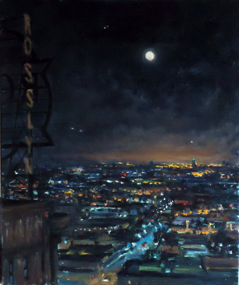Painted on location looking South West from on top of the Security Building (10th Floor) in Downtown Los Angeles   It was a gritty night.    Moonrise Over Skid Row SOLD 28x24 oil/canvas   Painting Available. Contact: James Main Fine Art and Antiques, Santa Barbara (805)6378632