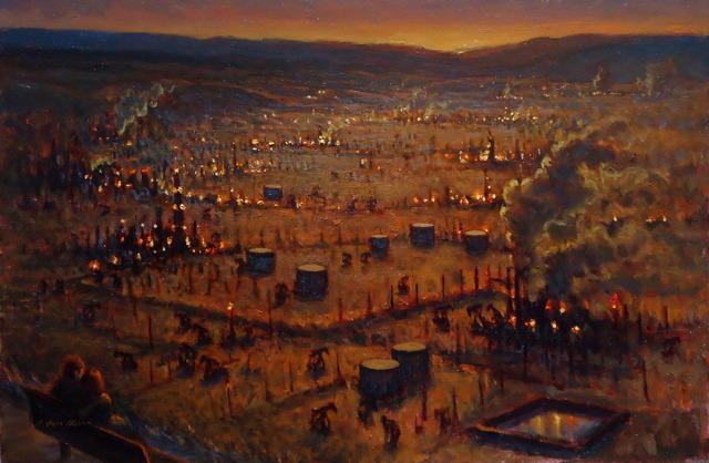 "I took a journey to Bakersfield, and Oildale with my Surreal Bounce colleague, Robert Eringer. Up on the Mesa near the College there is a vista which looks out over the oil fields of Oil Dale. I painted this to capture the irony. The golden light at sun set, the miles of drilling and pumping the black gold out of the ground, and the couple embracing on the bench  breathing the spores from the valley below. It was one pleasant afternoon. Painting featured on Santa Barbara Public Access Ch. 17, American Riviera; episode ""The Bake"" 