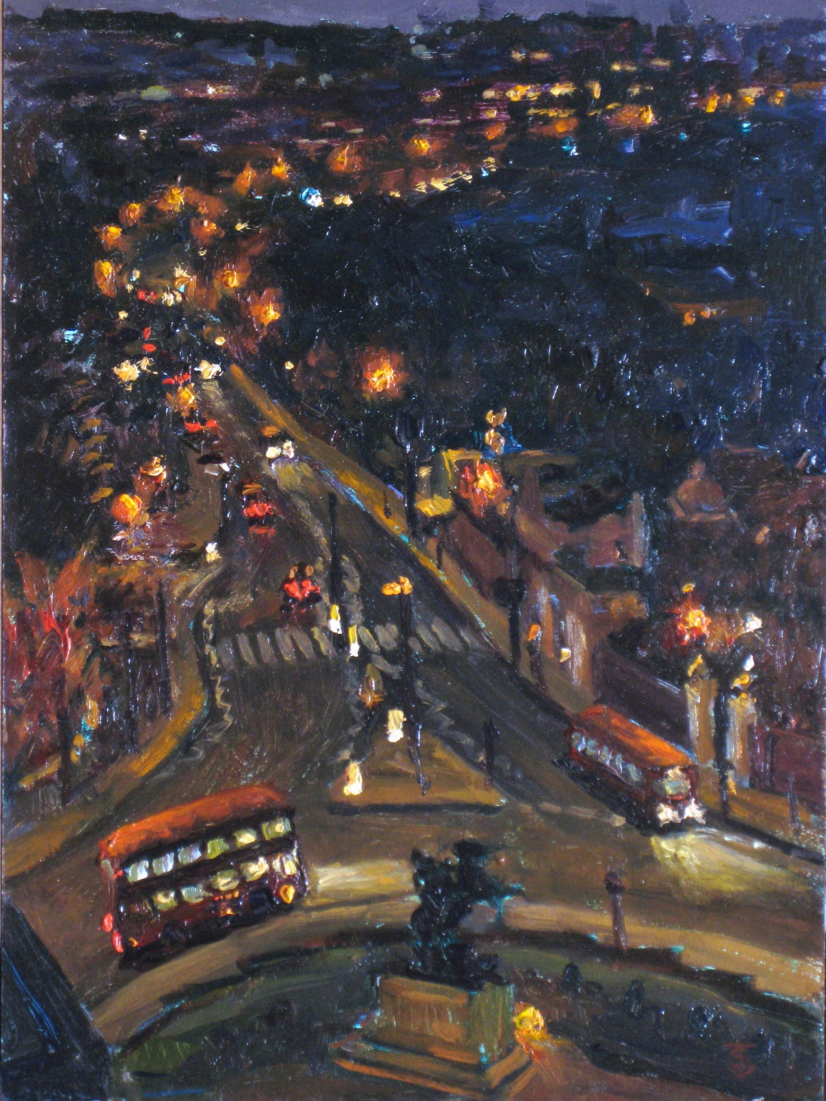 I traveled to London and Iceland with my Surreal Bounce colleague Robert Eringer, in search of the purity of the night sky, and found creativity and madness. I painted this painting looking out my window, Room 909, overlooking St. John's Wood, London. I captured the Double Decker Buse in the round about, which unfortunately no longer exist.   Round About Midnight 14x10 oil   Painting Status: Available for Purchase through James Main Fine Art, Santa Barbara, California. (805)637-8632