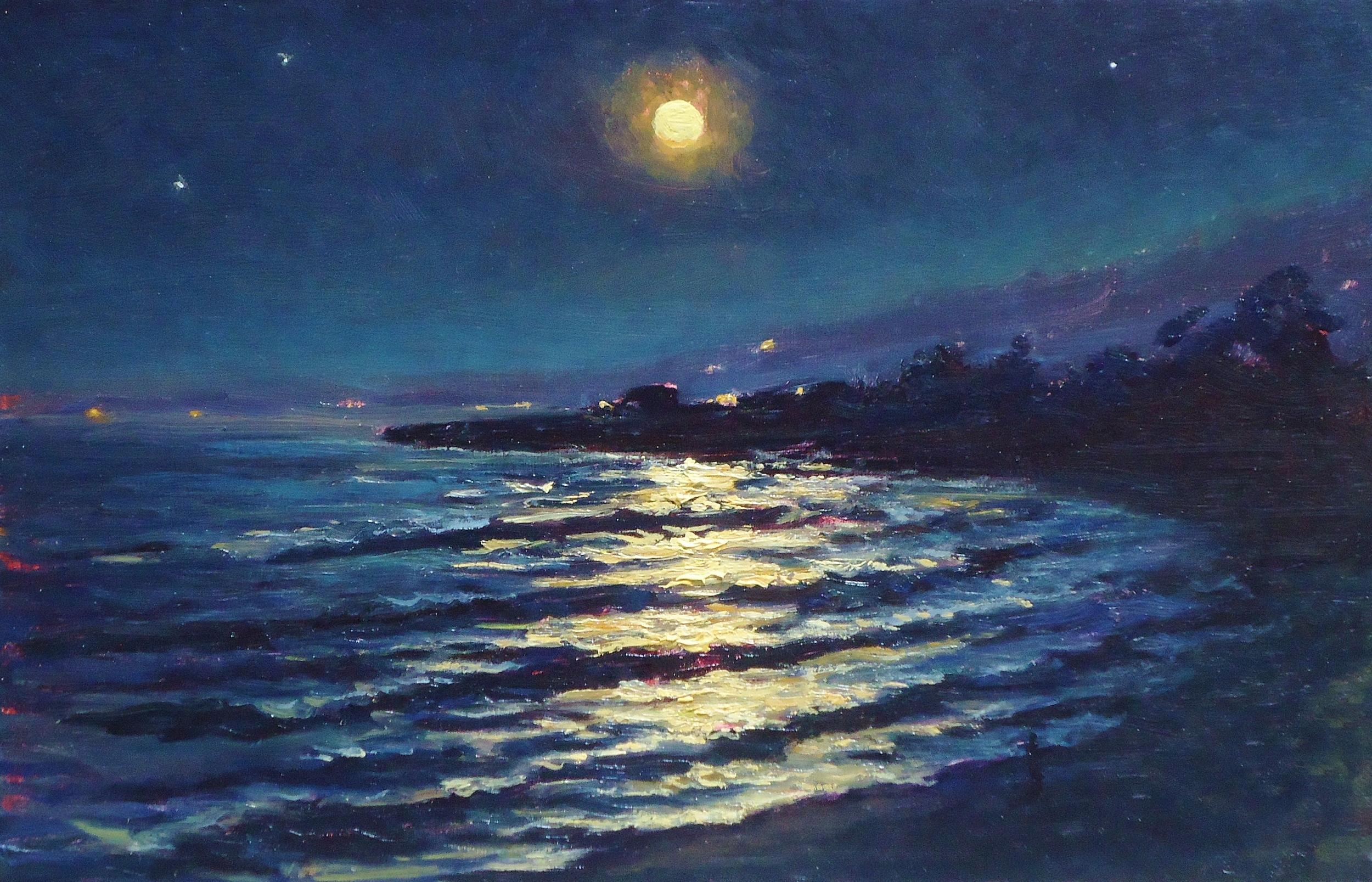 winter moonset, carpinteria, 9x14, oil, 2012.jpg