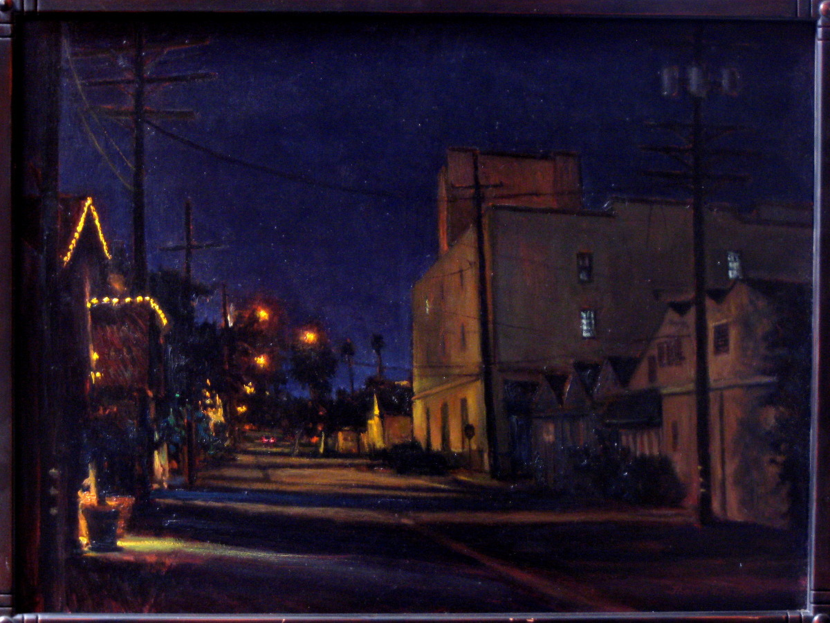 Painted on location in Santa Barbara, on Anacapa near the Beacon's Building. When I started the painting before sunset their were many cars on the street. When I finished the scene before me looked like a ghost town. 