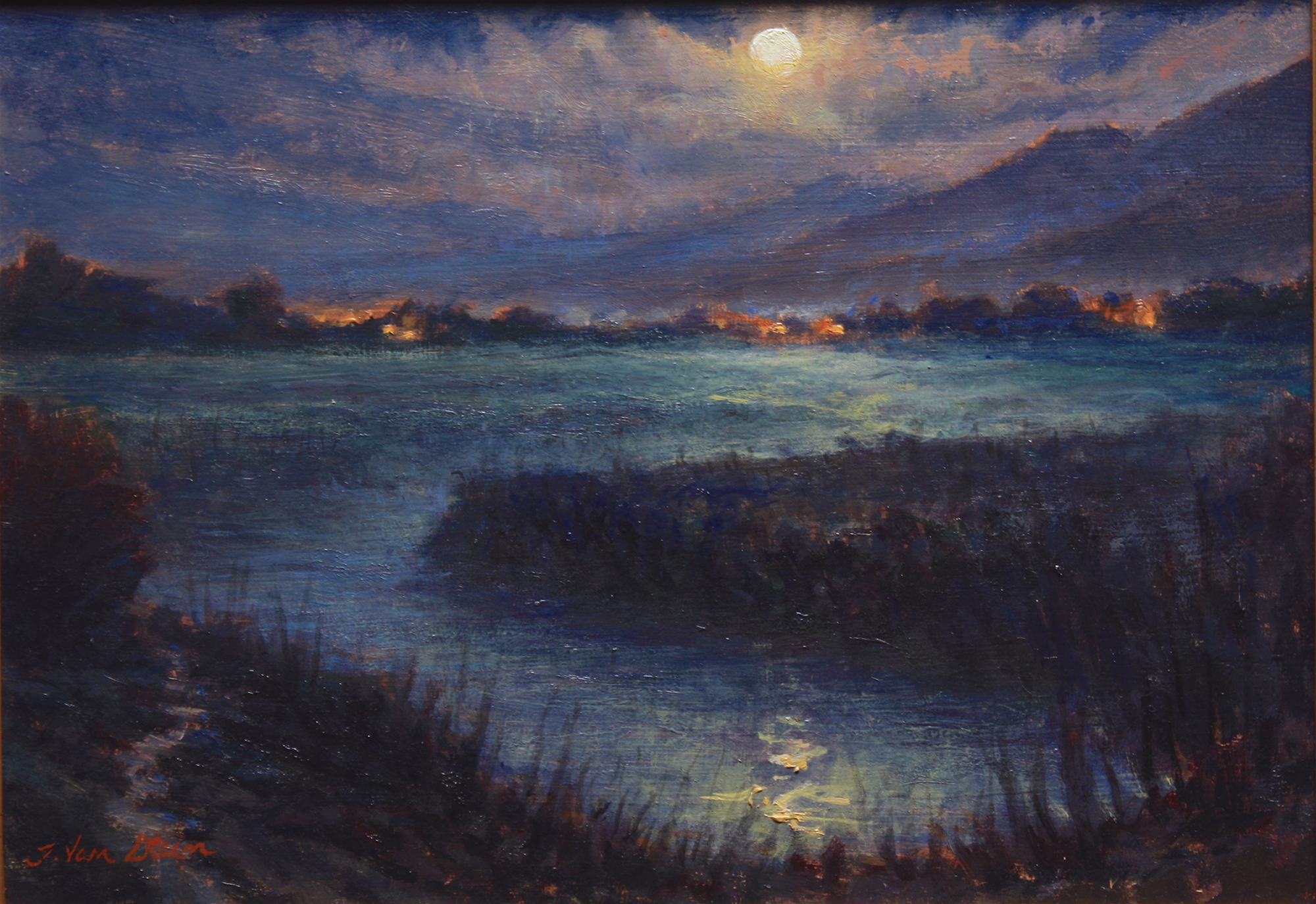 Wolf Moon Sets, Carp Marsh,  10x14 , oil on board,  2019
