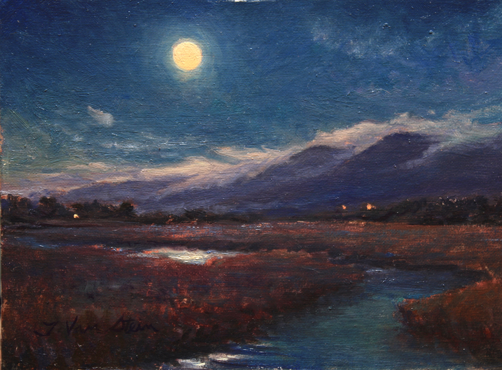 Winter Moon Set, Carp Marsh,  9x12, oil on board, 2018
