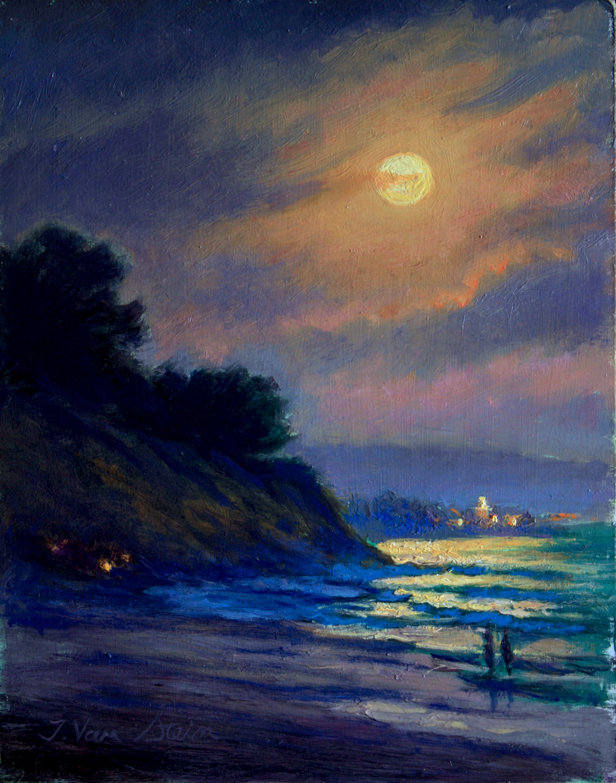 Super Moon Rise from East Beach,  14x11,  oil on canvas, Jan. 2018