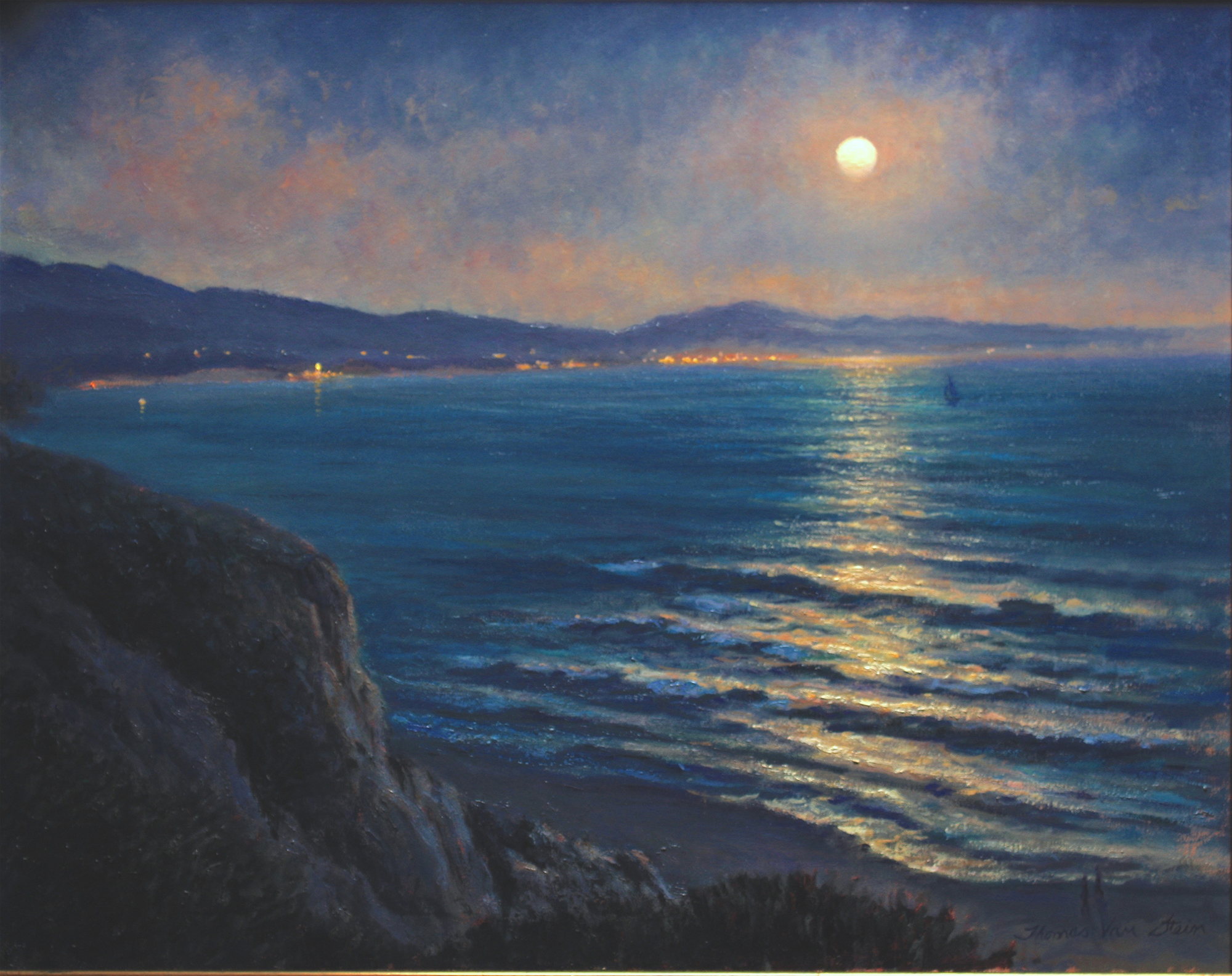 Rose Moonrise from Shoreline,  24x30, oil on canvas, 2019