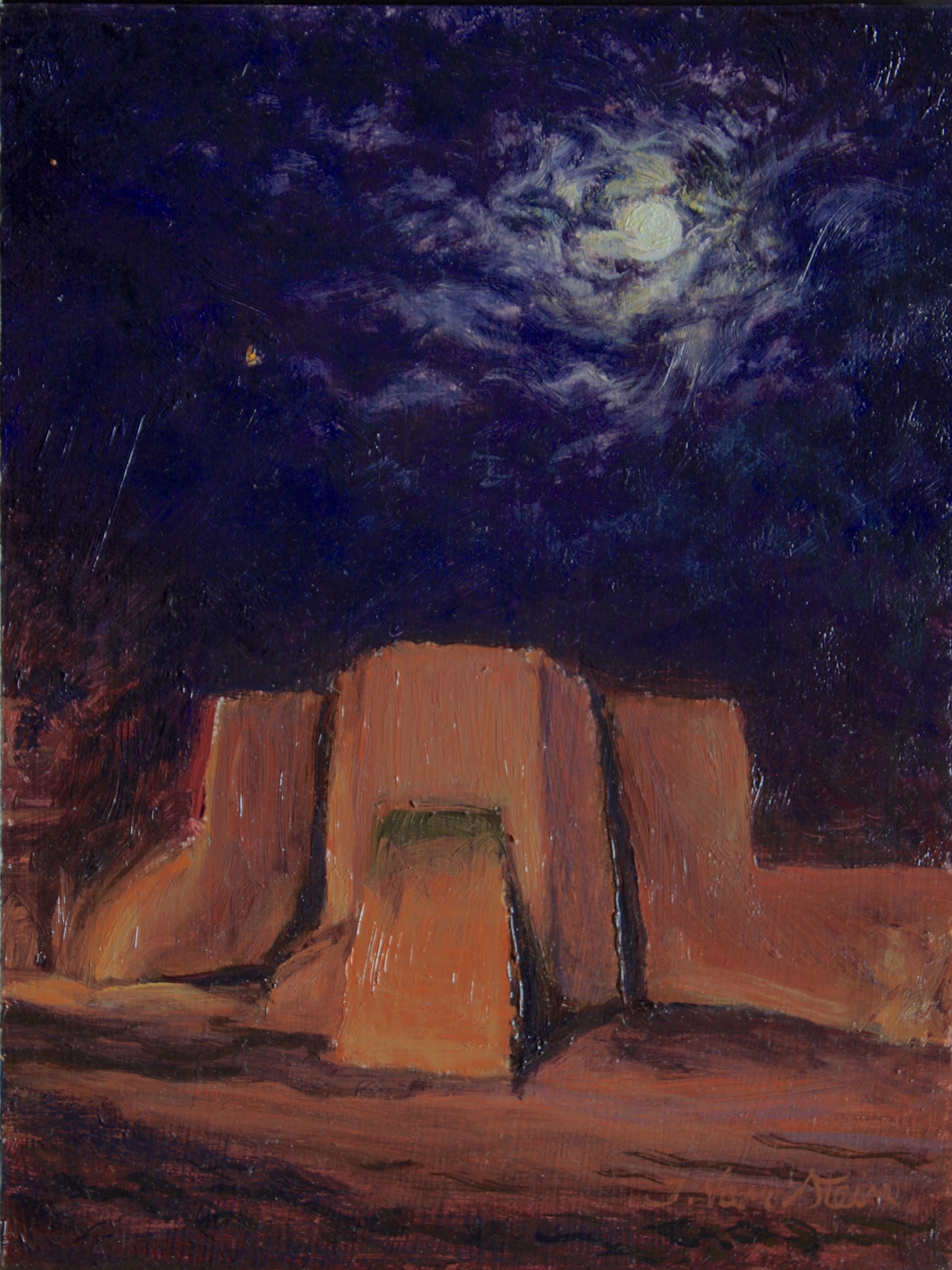 Moon Over Mission San Francisco Assasi, Taos NM, 12x9, oil, 2018