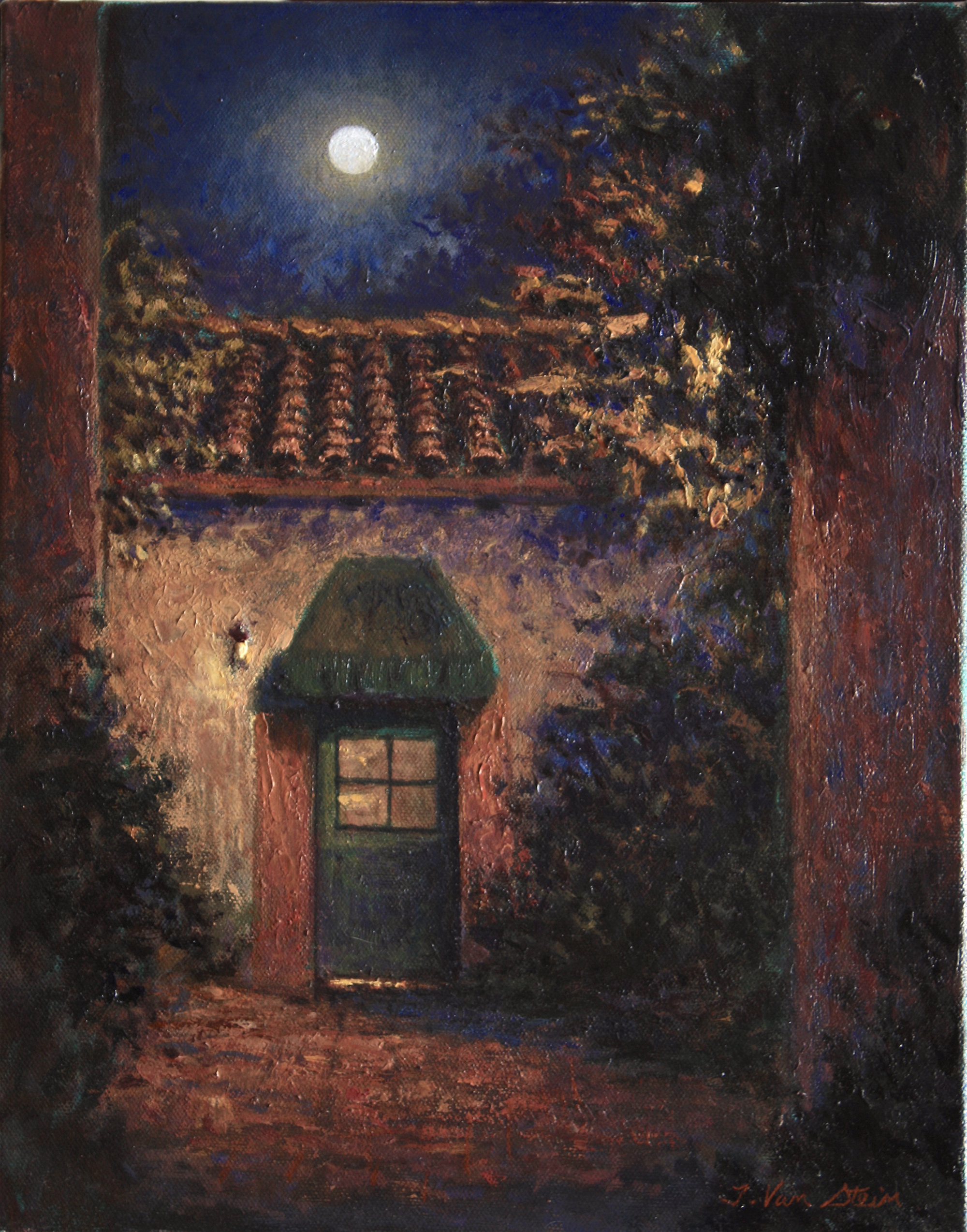 Moon Over the Lugo Adobe,  14x11,  oil on canvas,  2019