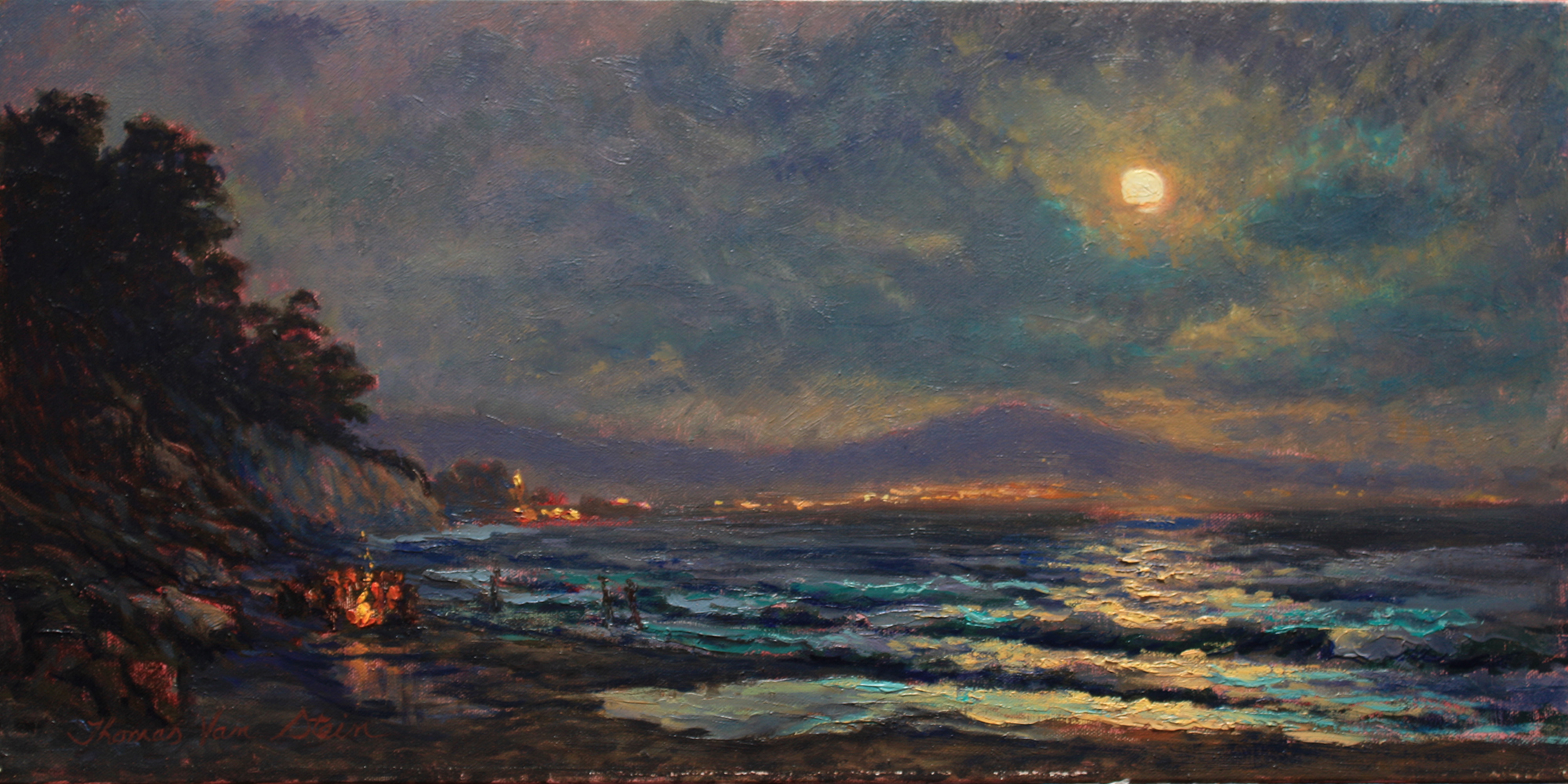 Moonlight Bathers , 12 x 24 , oil on canvas, 2019