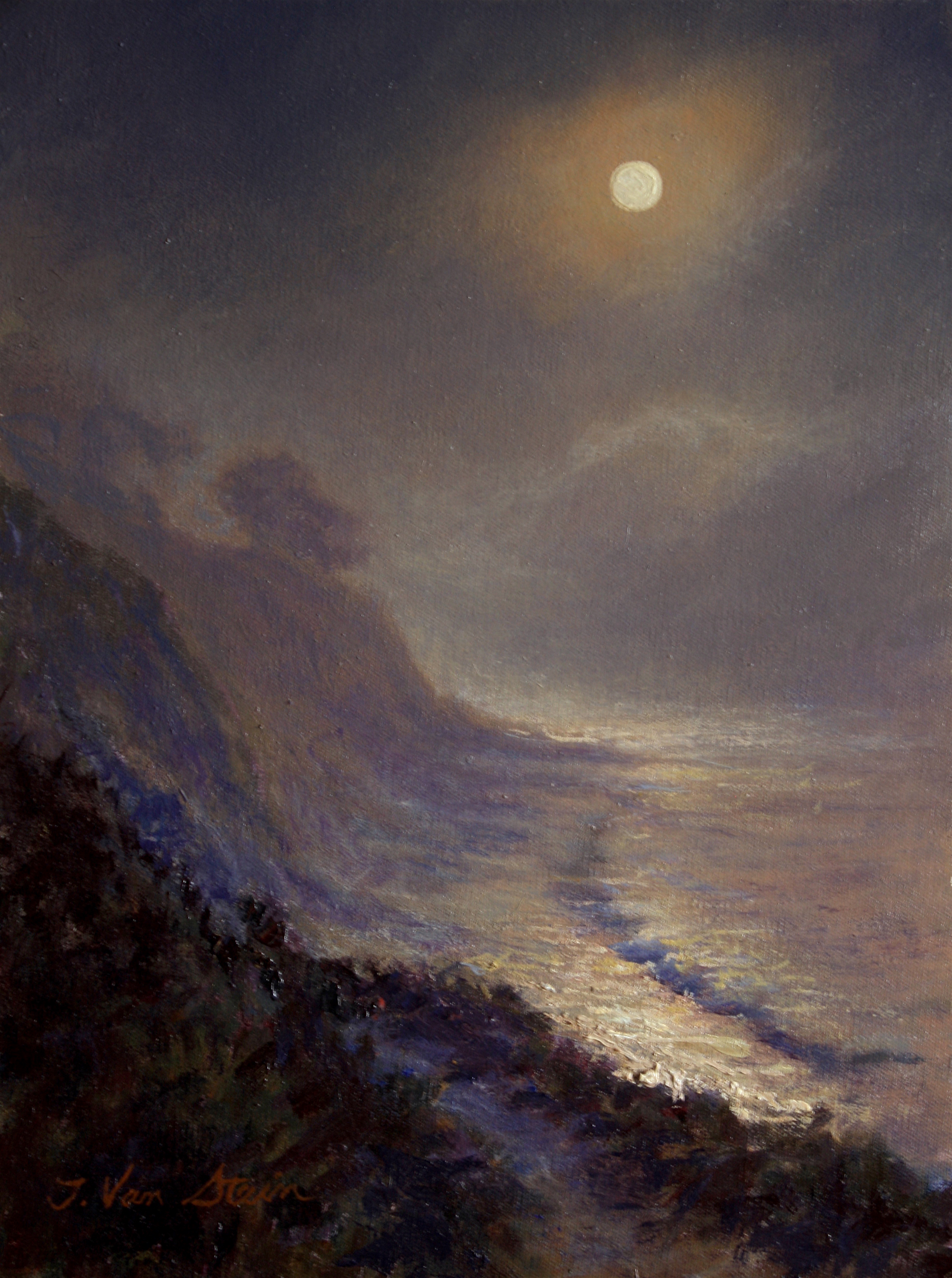 Moon through the Fog, from Fili's Point,  16x12,  oil on canvas, 2019