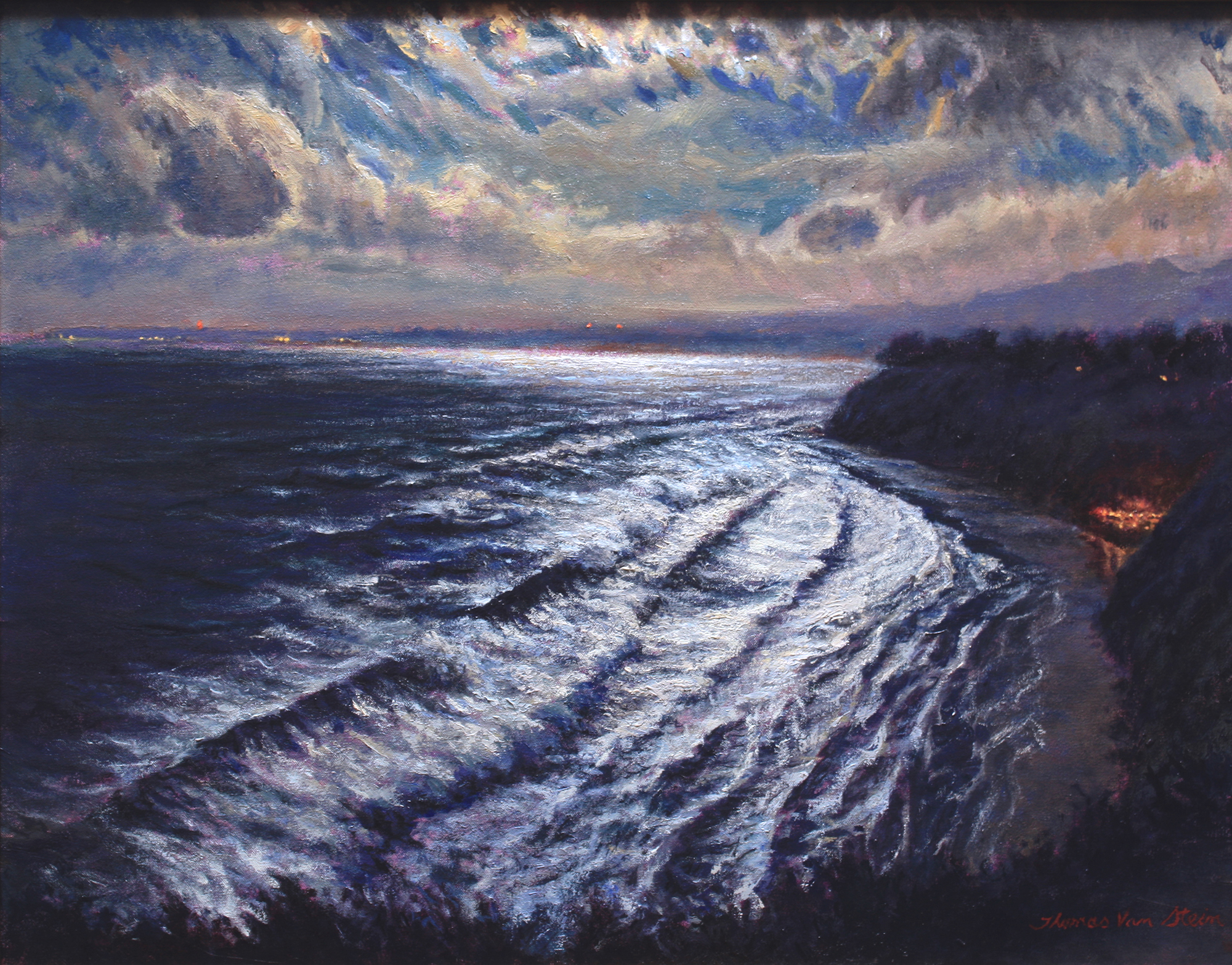 Moonlit Surf, Arroyo Burro Beach,  22x28, oil on canvas, 2019