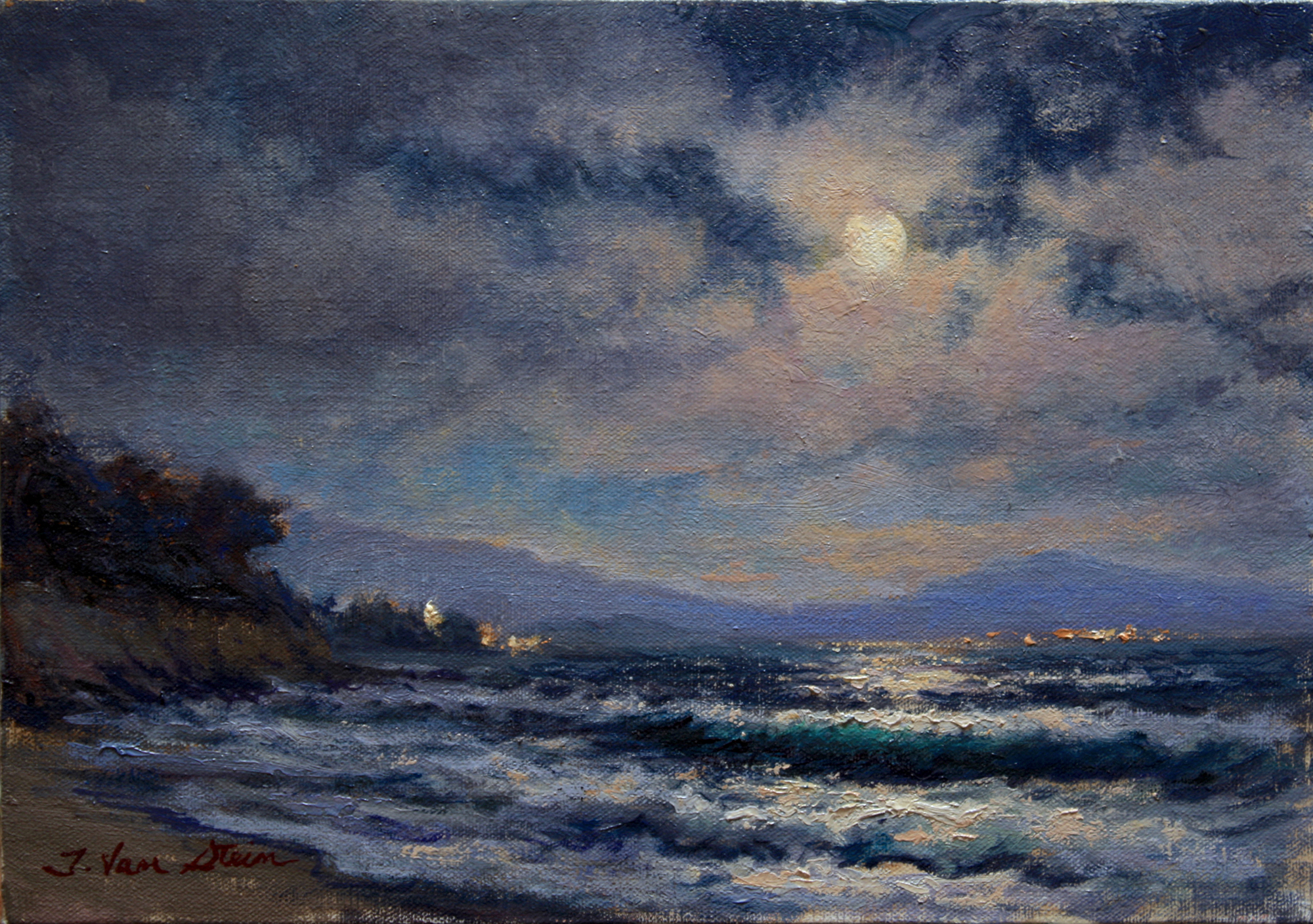 Moonrise from East Beach,  10x14, oil on canvas, 2019
