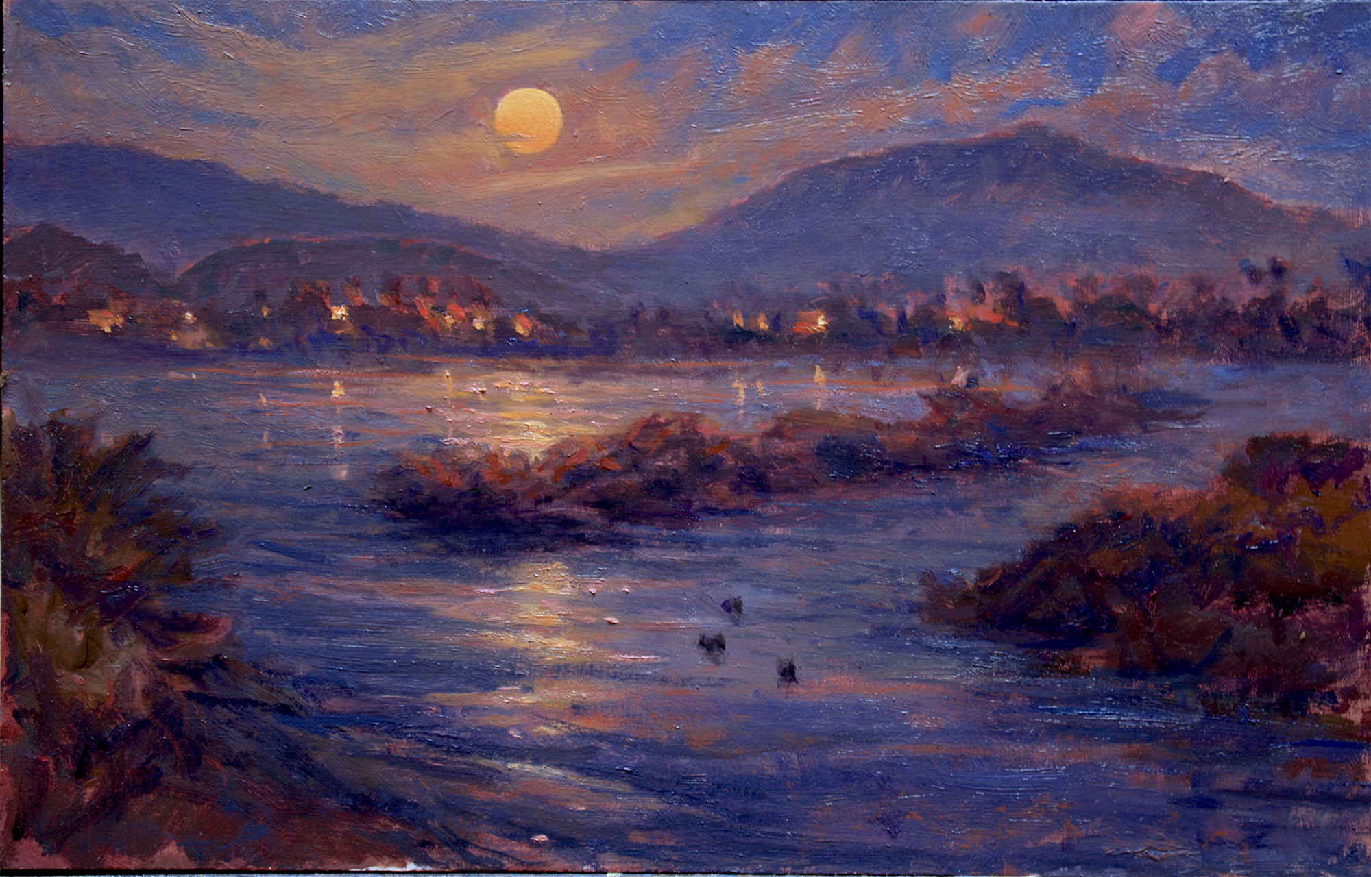King Tide and Super Moon Rise, 12x19, oil on board, 2019