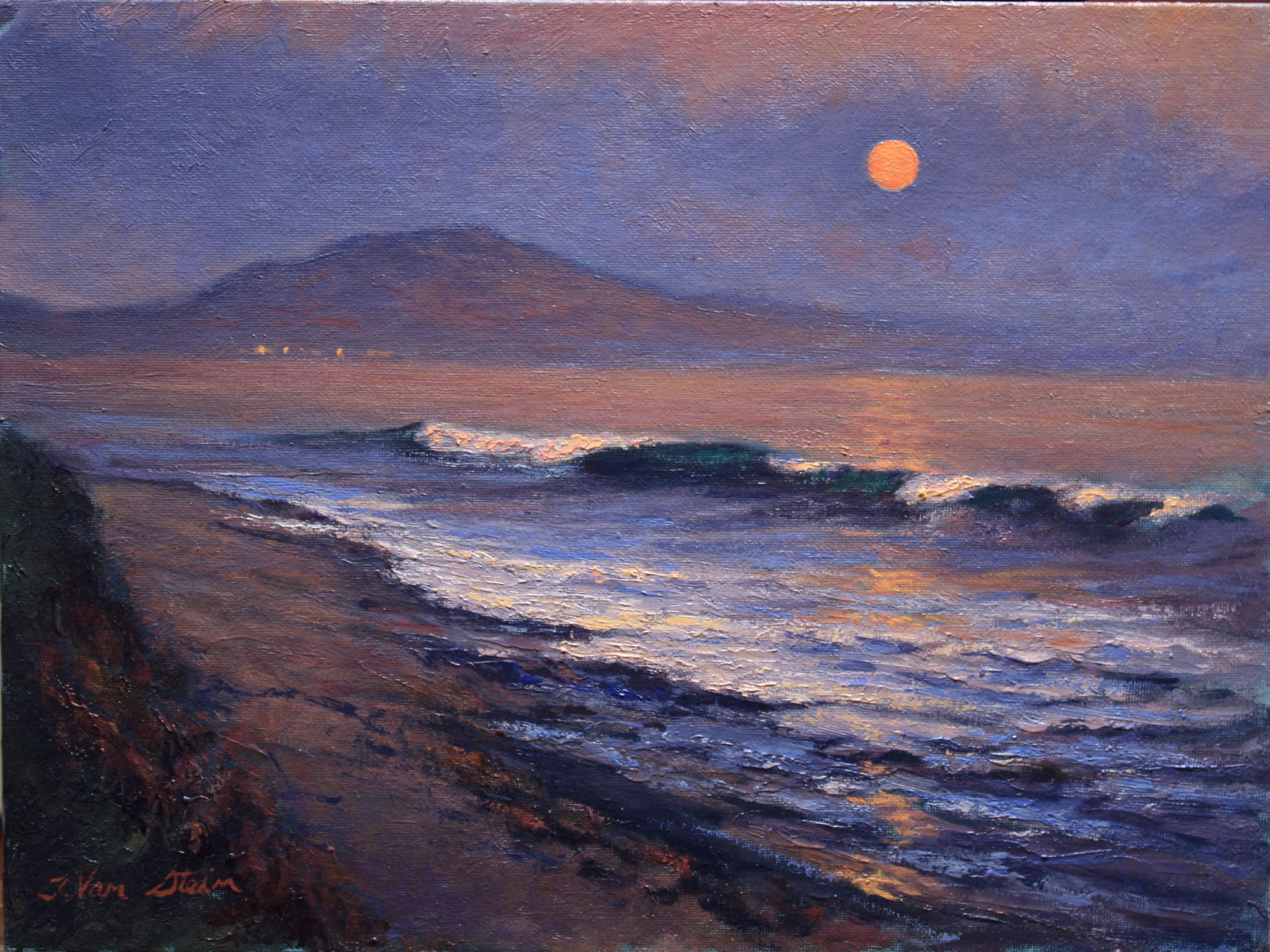 Early Moonrise from Hammonds,  12x16, oil,  2019