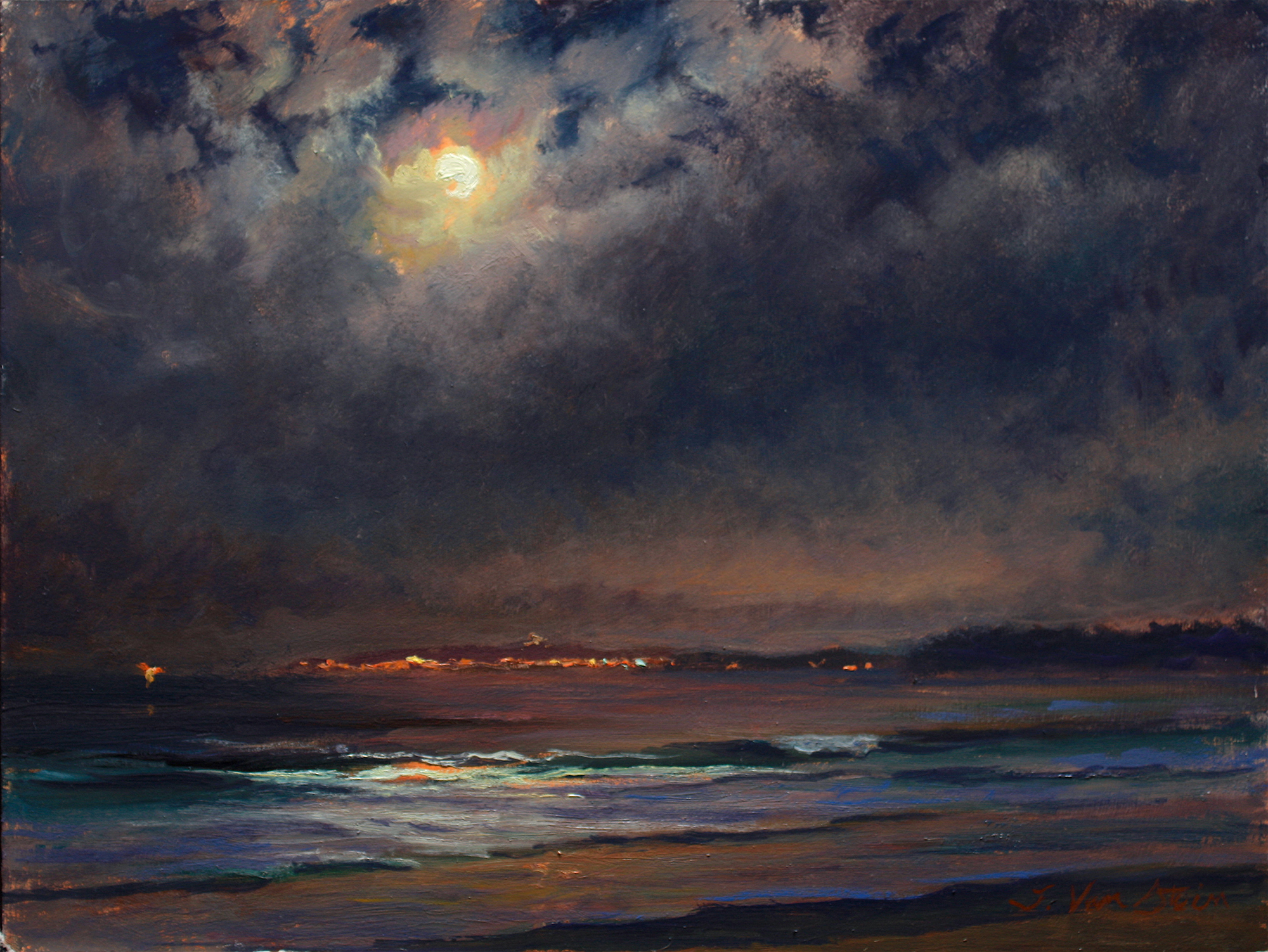 Full Worm Moon, Incoming Fog,  12 x 16, oil on board, 2019