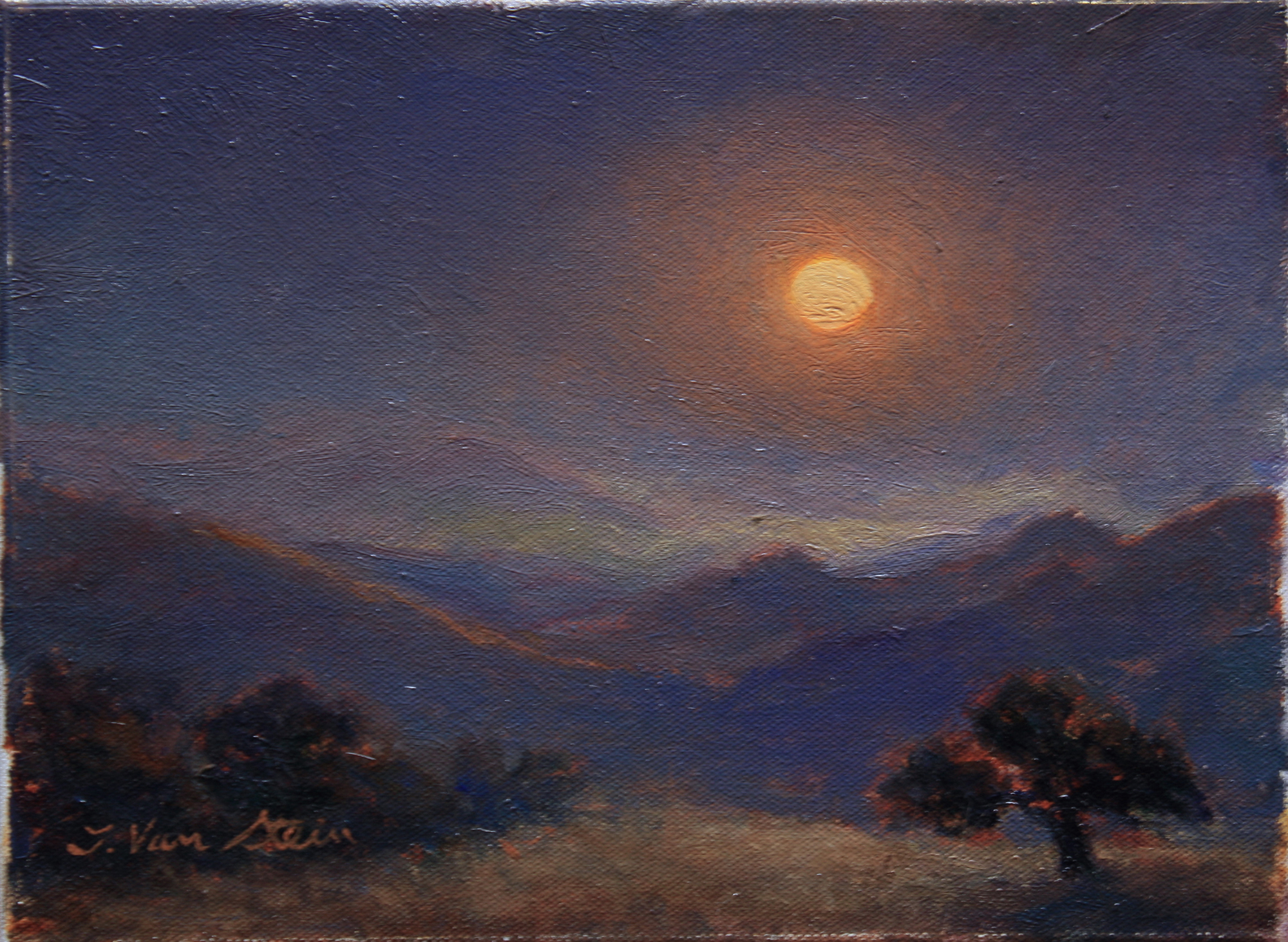 Harvest Moonrise, Santa Ynez,  9x12,  oil on canvas, 2018