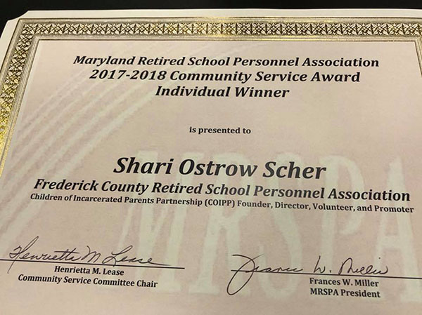 In May 2018, COIPP president Shari Scher was named the   Maryland Retired School Personnel 2017-2018 Community Service Award Winner.