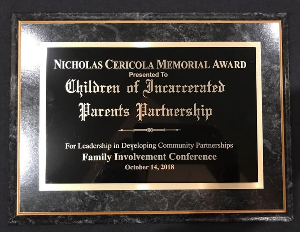 Nicholas Cericola Memorial Award  presented to COIPP at the Family Involvement Conference on October 14, 2018.