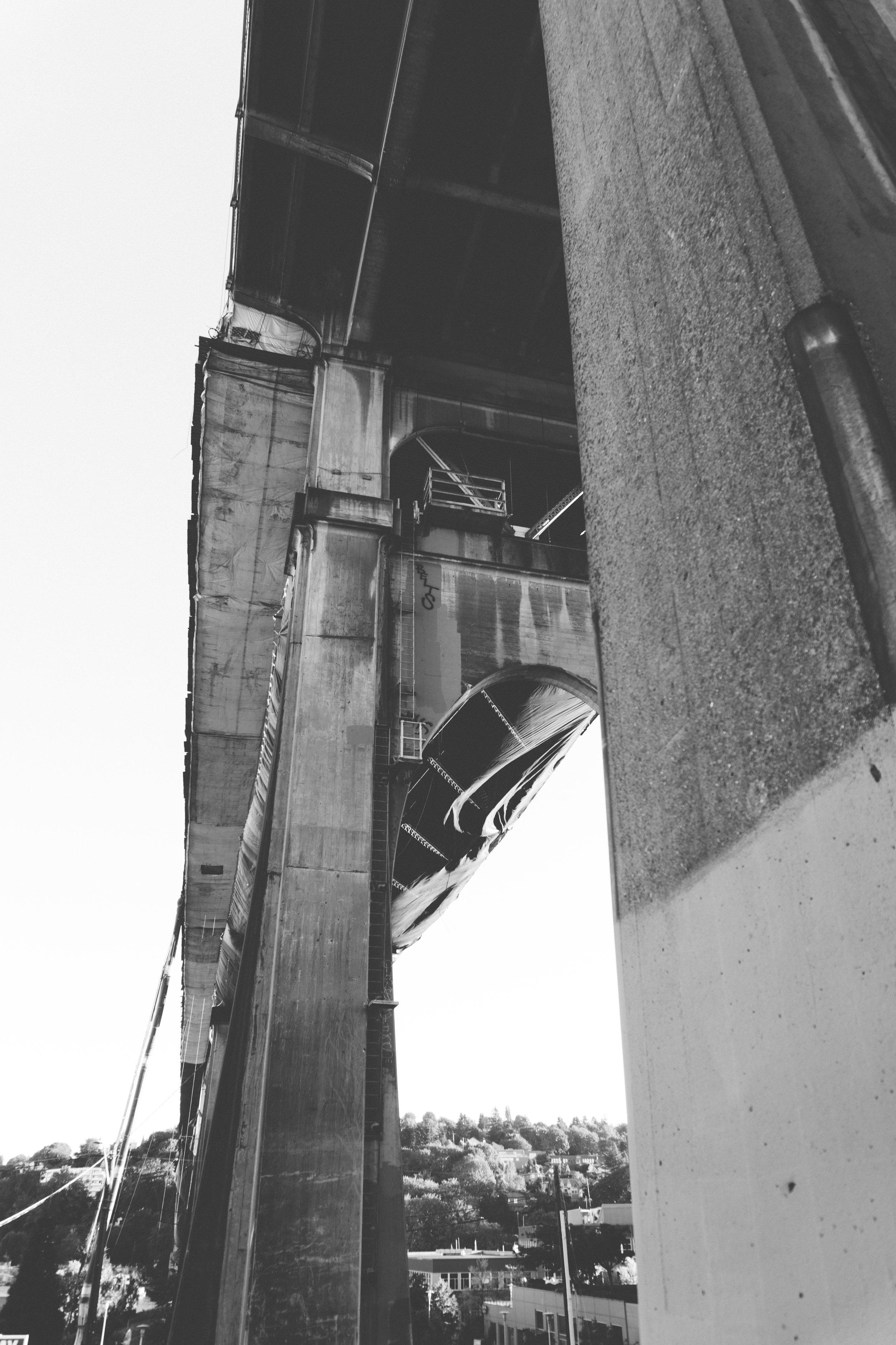 under the fremont bridge - b+w