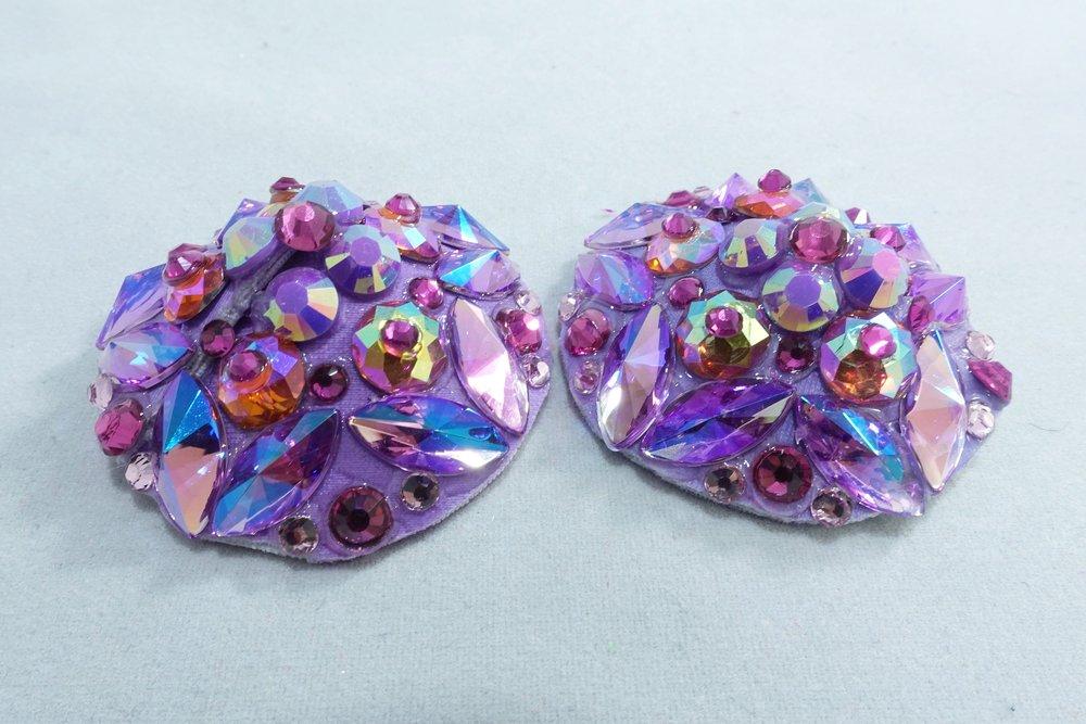Purple Asyemmetrical Gemstone Pasties with Blue Tassels