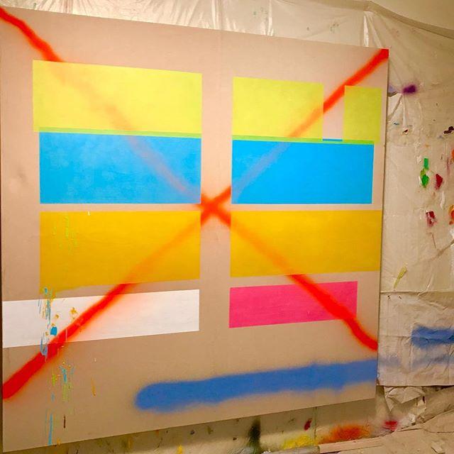 2018.14 (studio night shot), oil and enamel on canvas, 80x80 inches #instapainting #paintpaintpaint #oilpaintings #abstractogram #abstractpainting #abstractlandscape #markmaking #abstraction #abstract #abstractobsession #minimalart #minimalartist #minimaldesign #fineart #abstraction #workinprogress #artgram #contemporaryart #art #artist #paint #painting #design #designthinking #seattle #seattleart #seattleartist