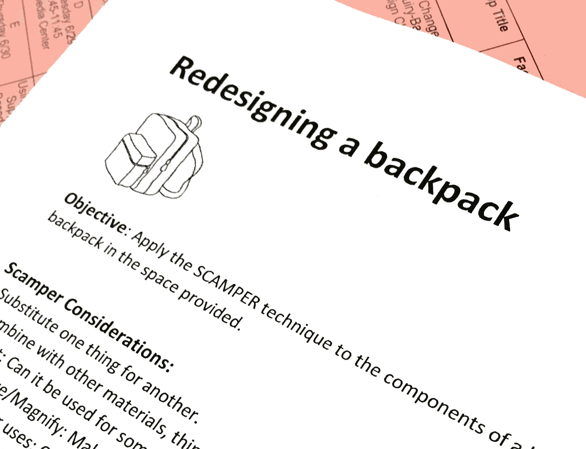 Participants worked together to re-design a backpack.