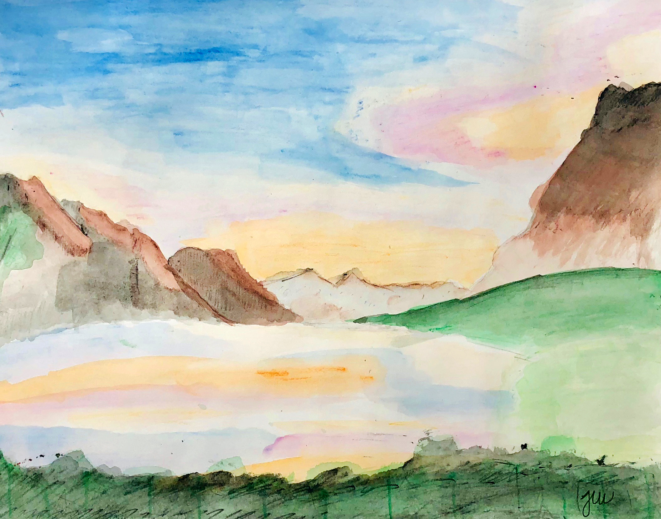 Jun W, grade 8, Watercolor. Week of Dec 3.