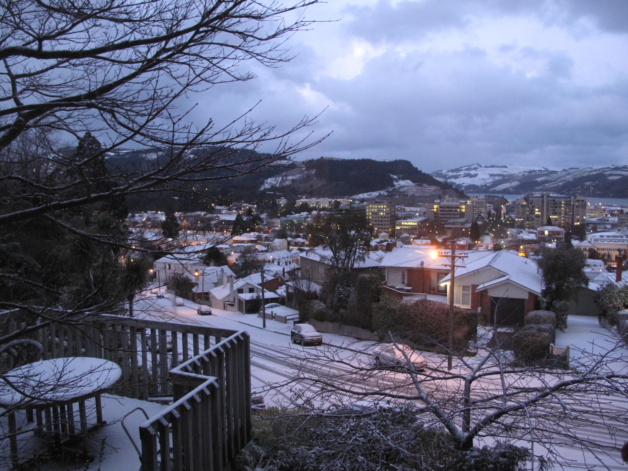 winter city lights at dusk