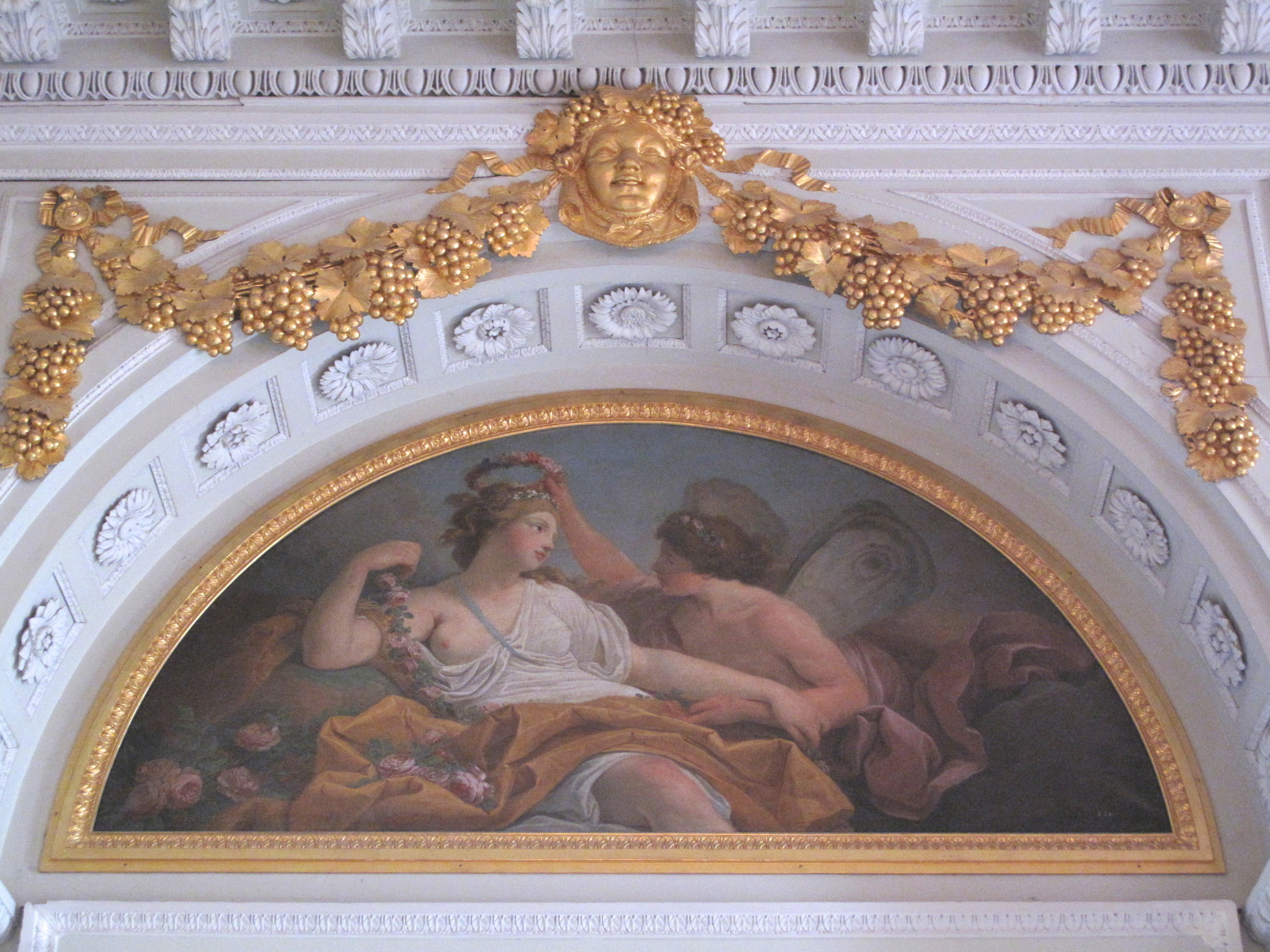 Versailles boiserie wall painting and gold edges
