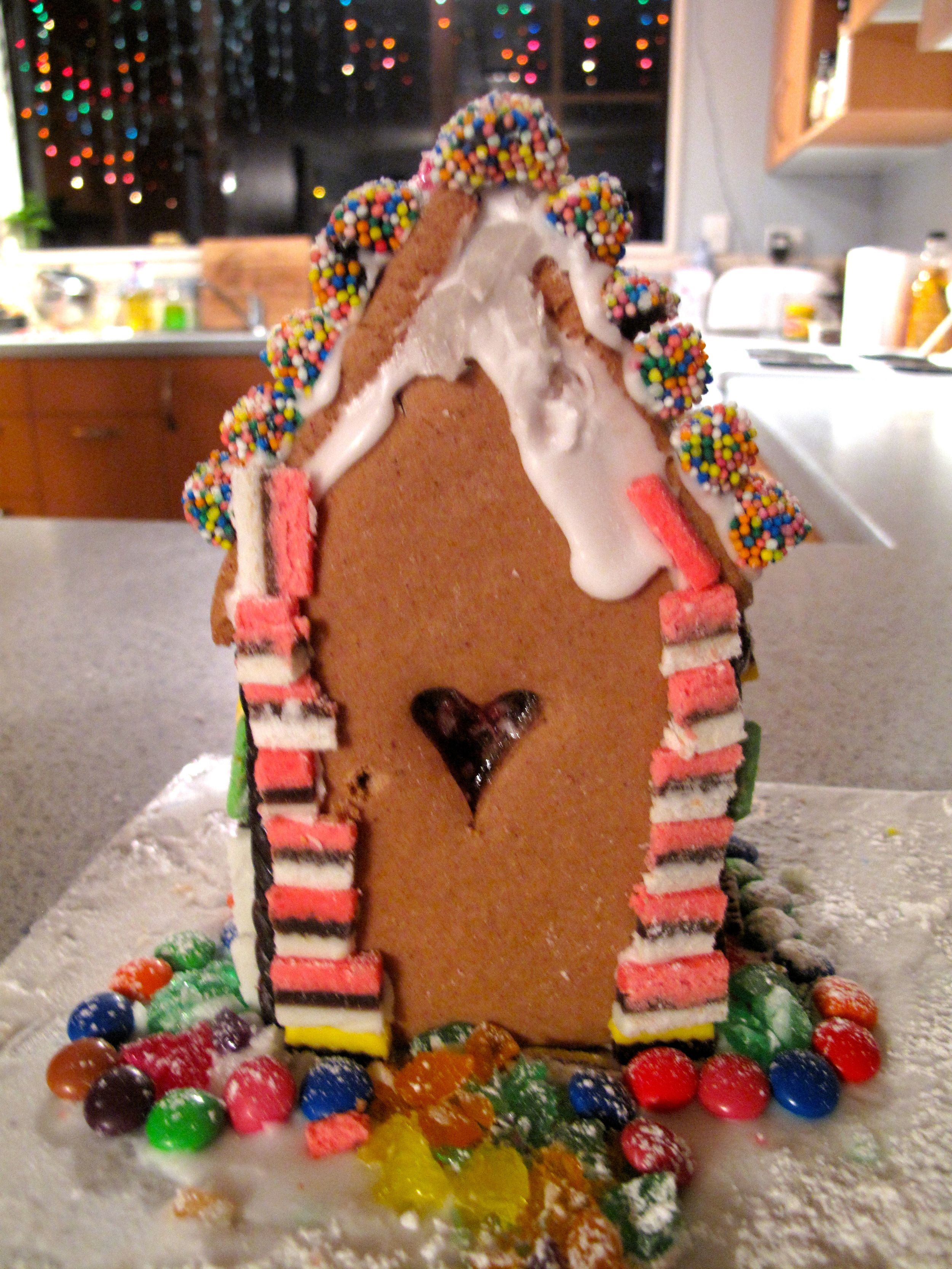 Gingerbread house and christmas lights