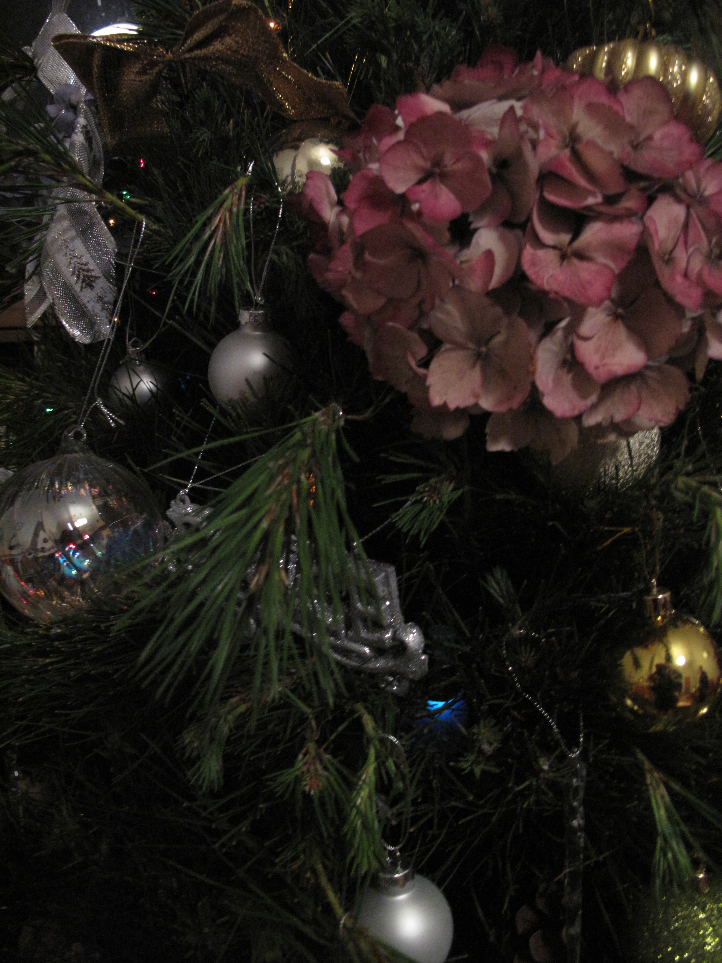 Vintage christmas tree hydrangea flowers