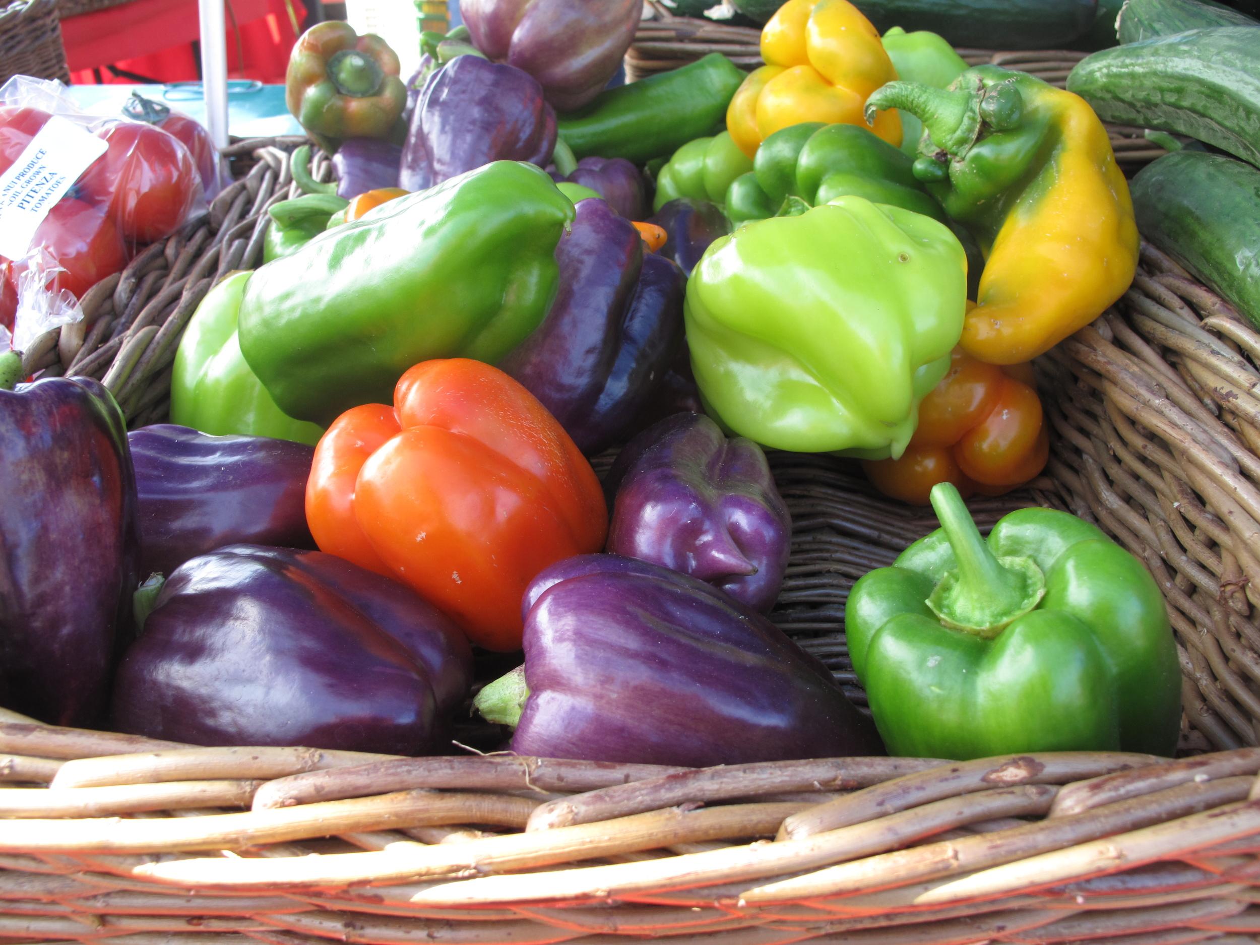 rainbow capsicums at the farmer's market Dunedin