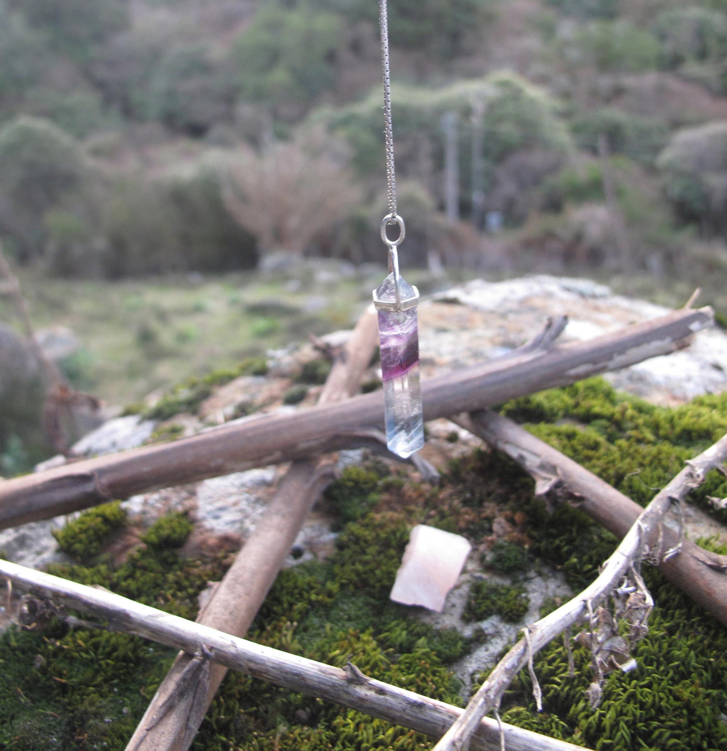 Crystal fluorite pendant and magical star of twigs
