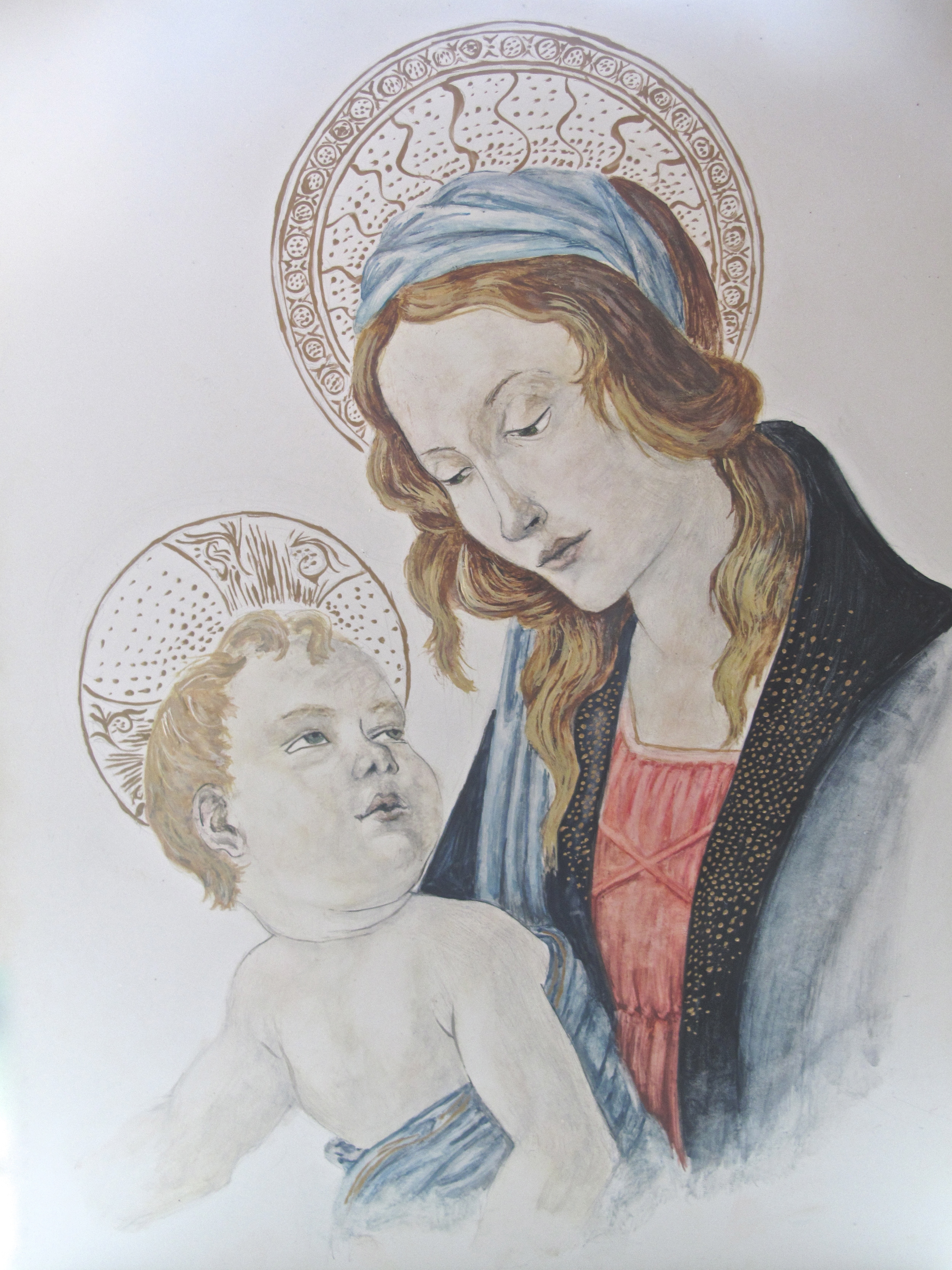 Madonna and child painting how to - Botticelli in egg tempera