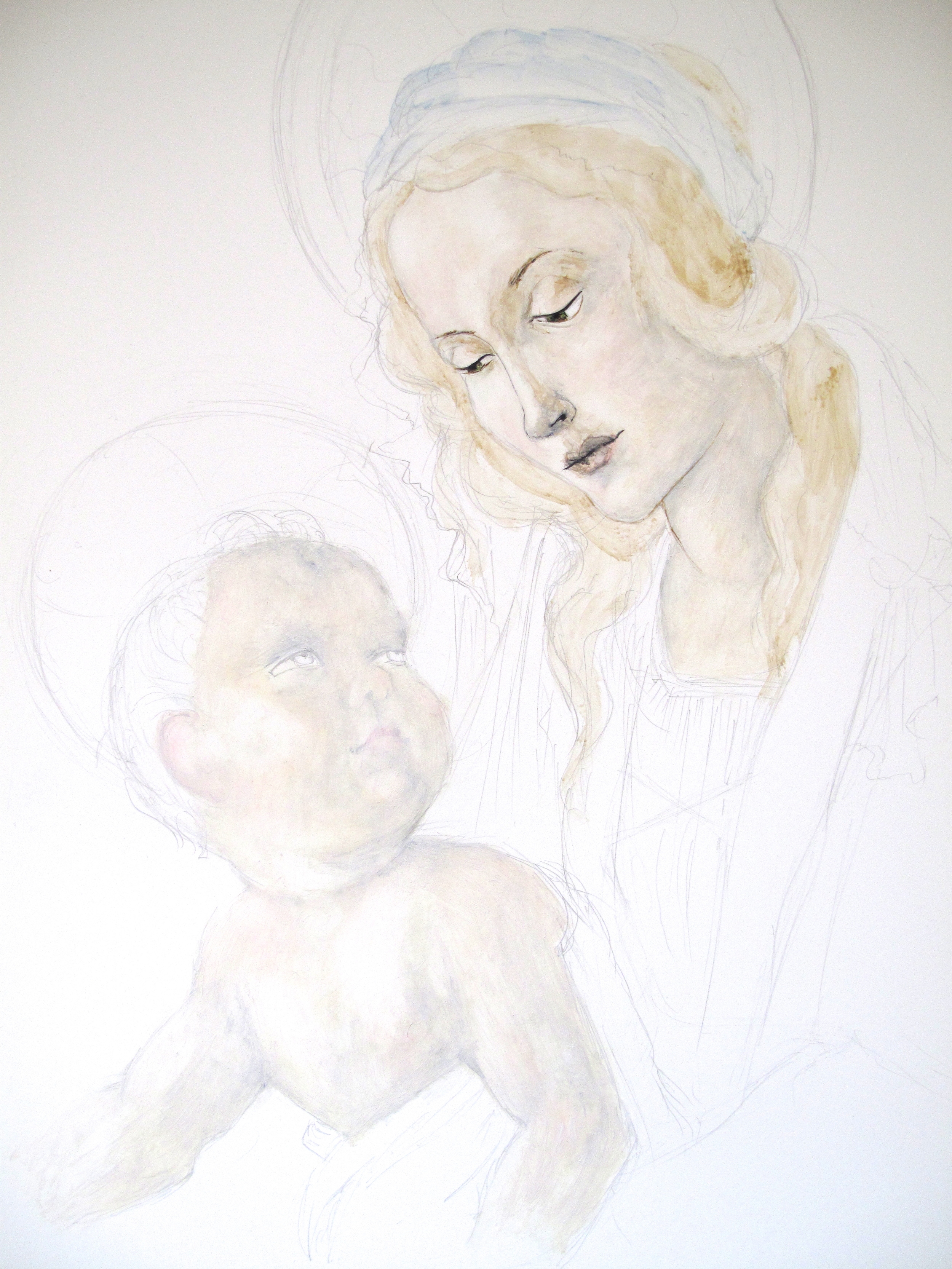 Madonna and child painting how to