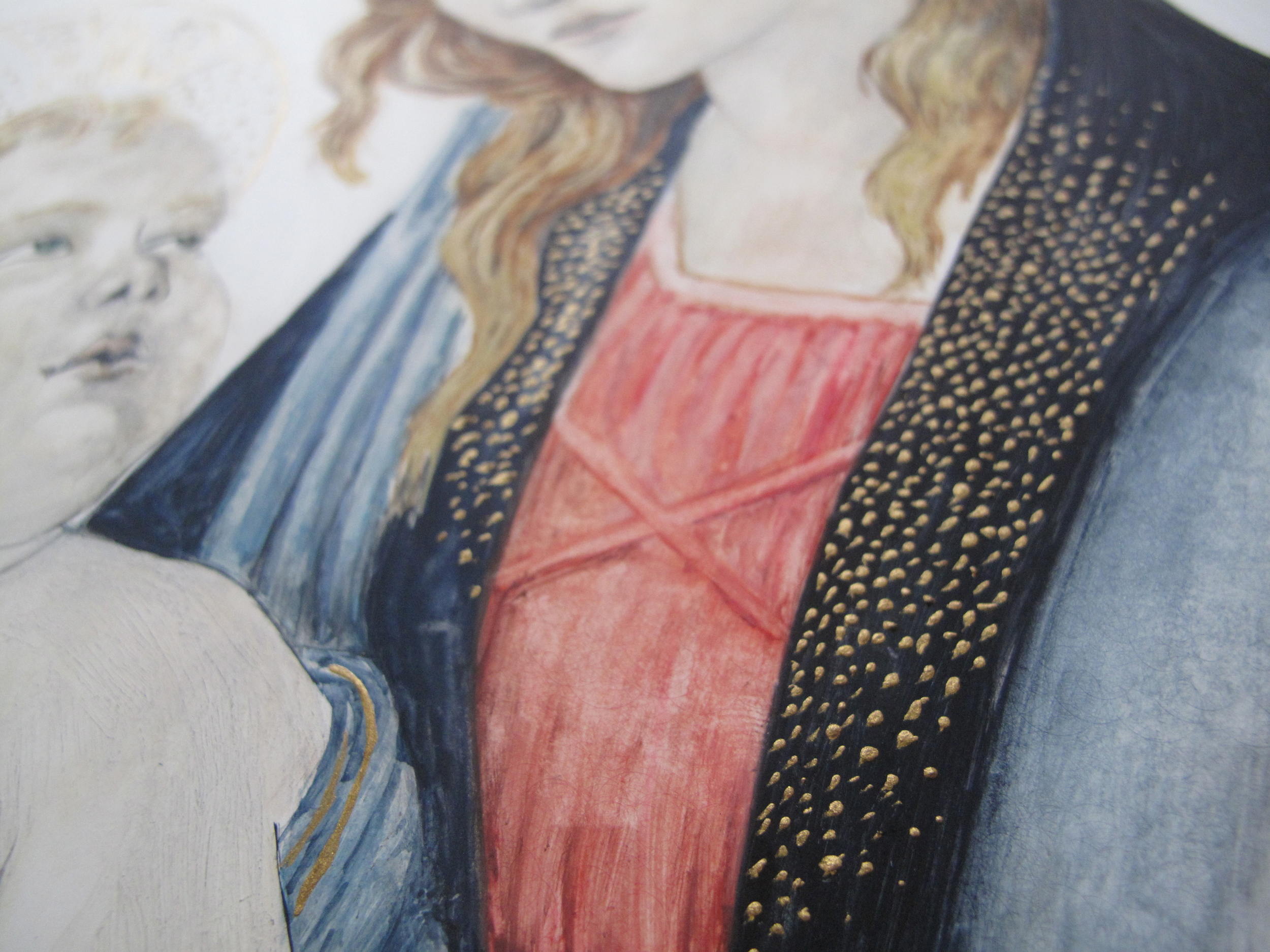 Madonna And Child painting detail of gold