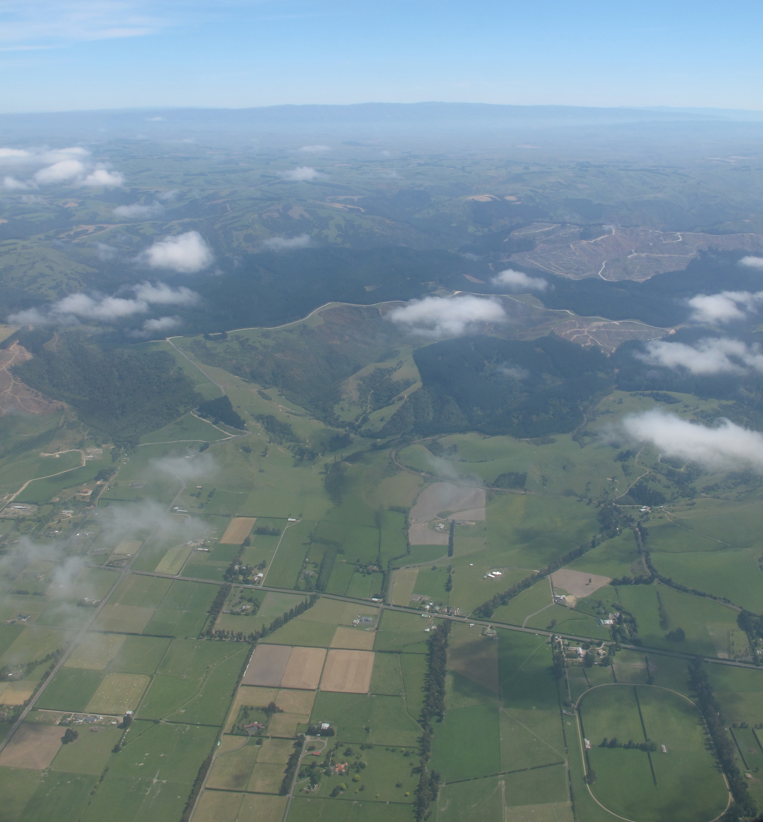 New Zealand fields and green hills from above