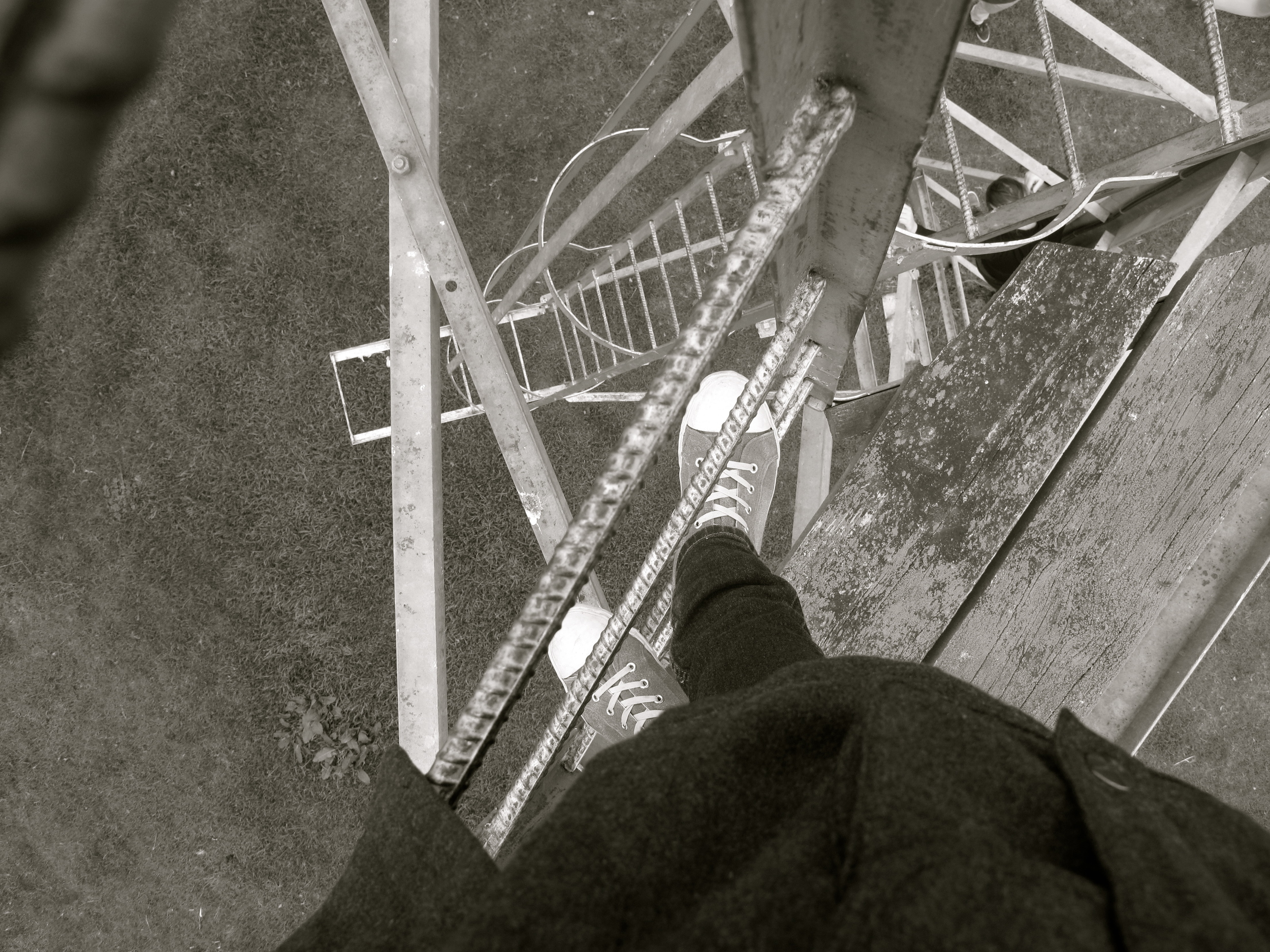 Climbing the watchtower on the race course in Kurow, wop wops of NZ