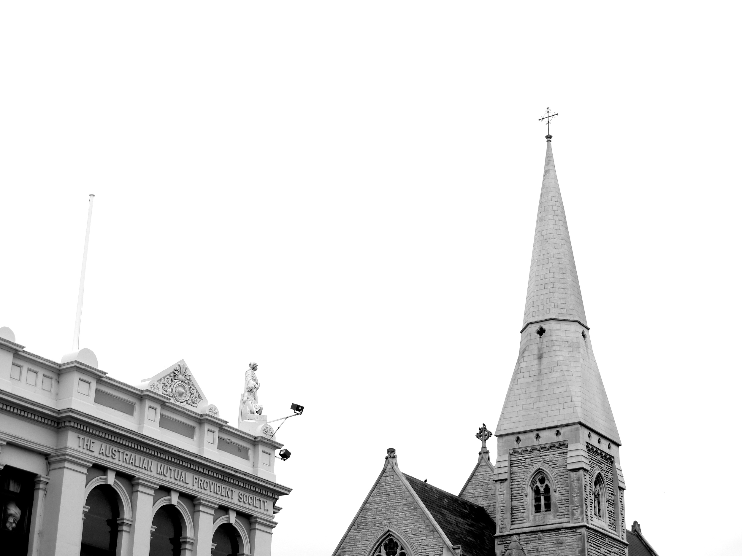 Church steeple and old buildings in Victorian precinct, Oamaru