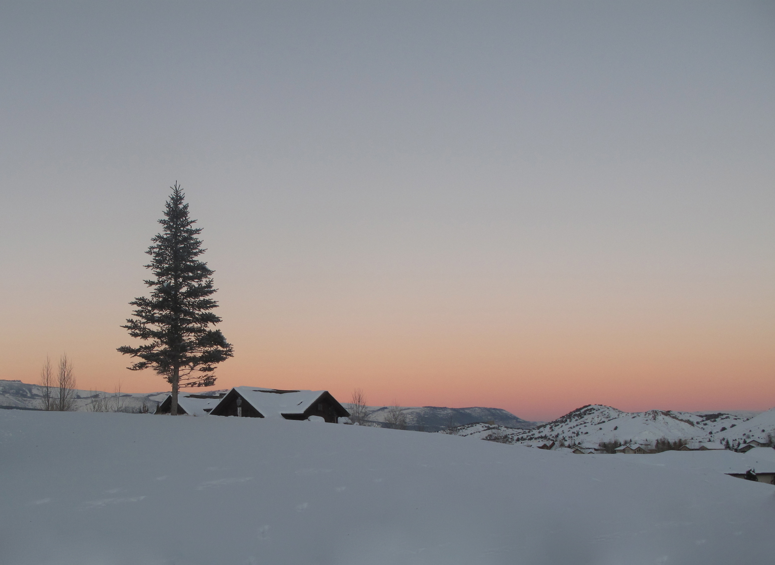 Colorado snow and sunset on a hill with a wooden house and pine tree