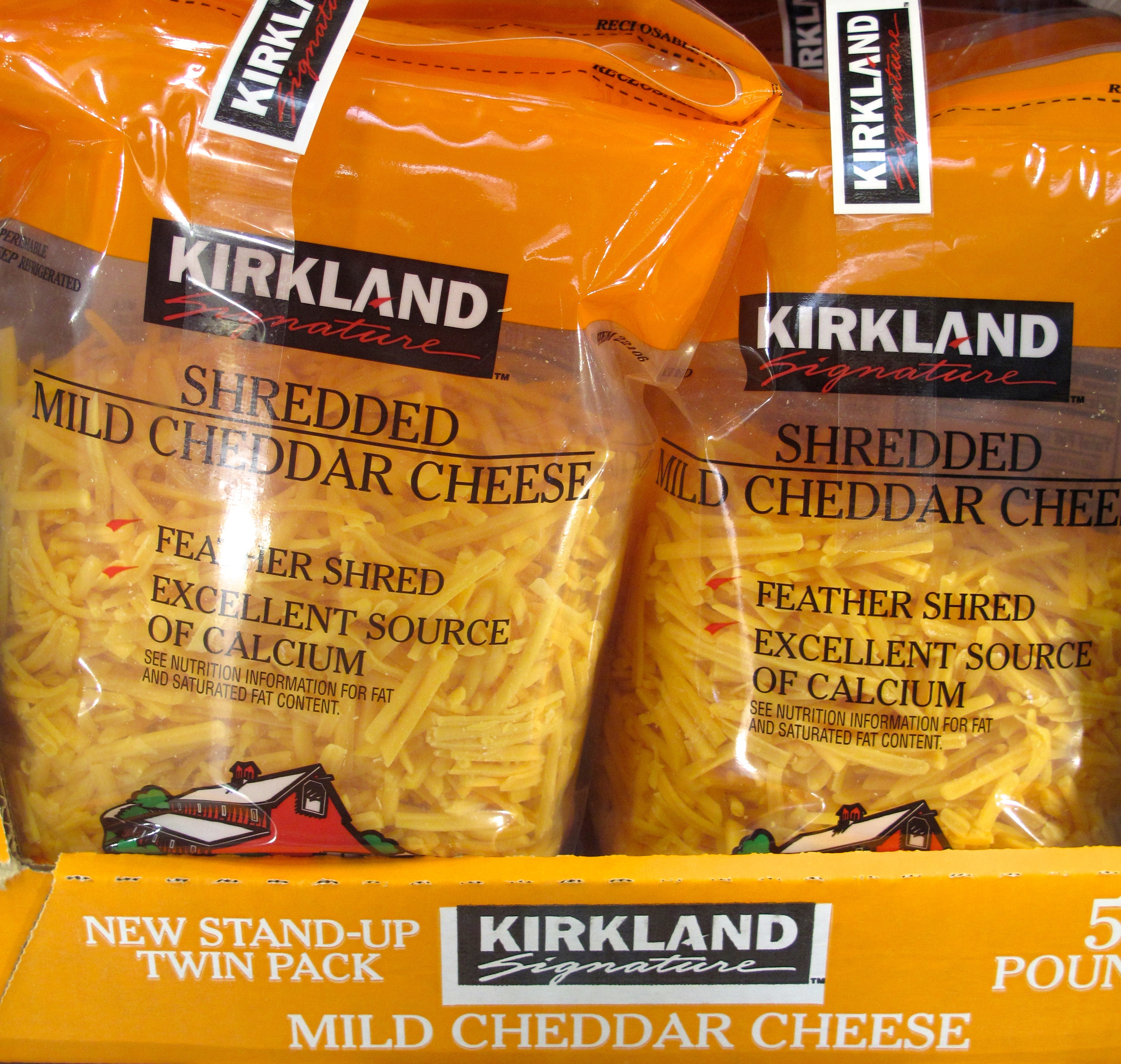 Weird American orange pre-grated cheese
