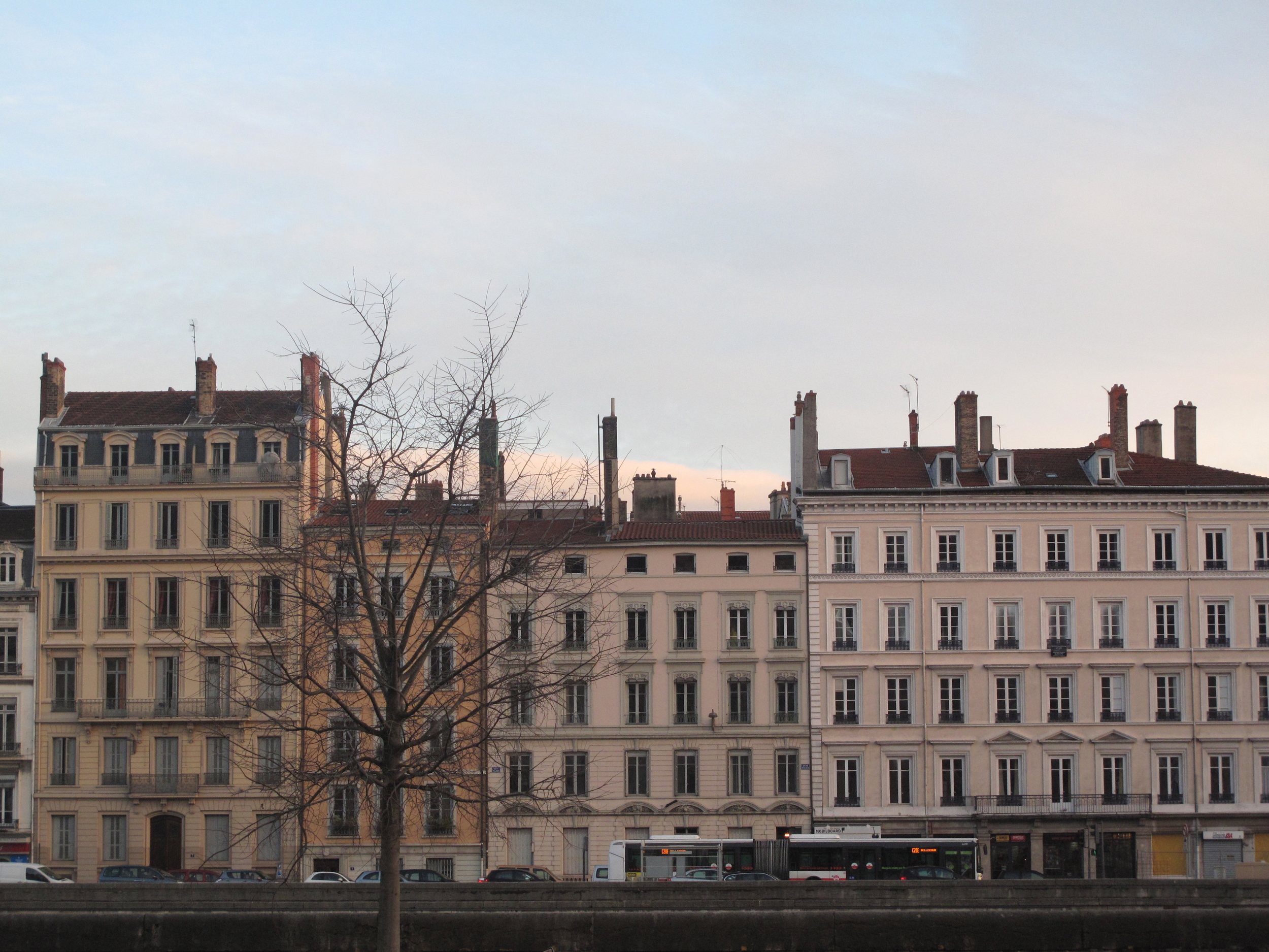 Lyon houses by the river, France