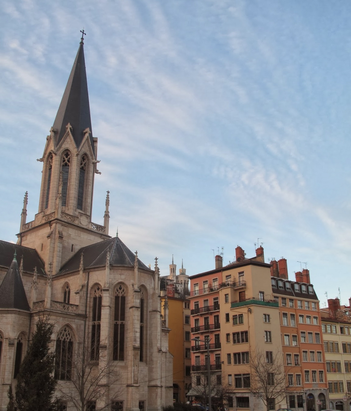 Lyon church and colourful houses